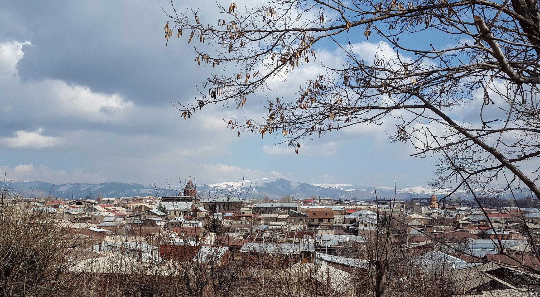 Blick vom Stadtpark auf die Stadt