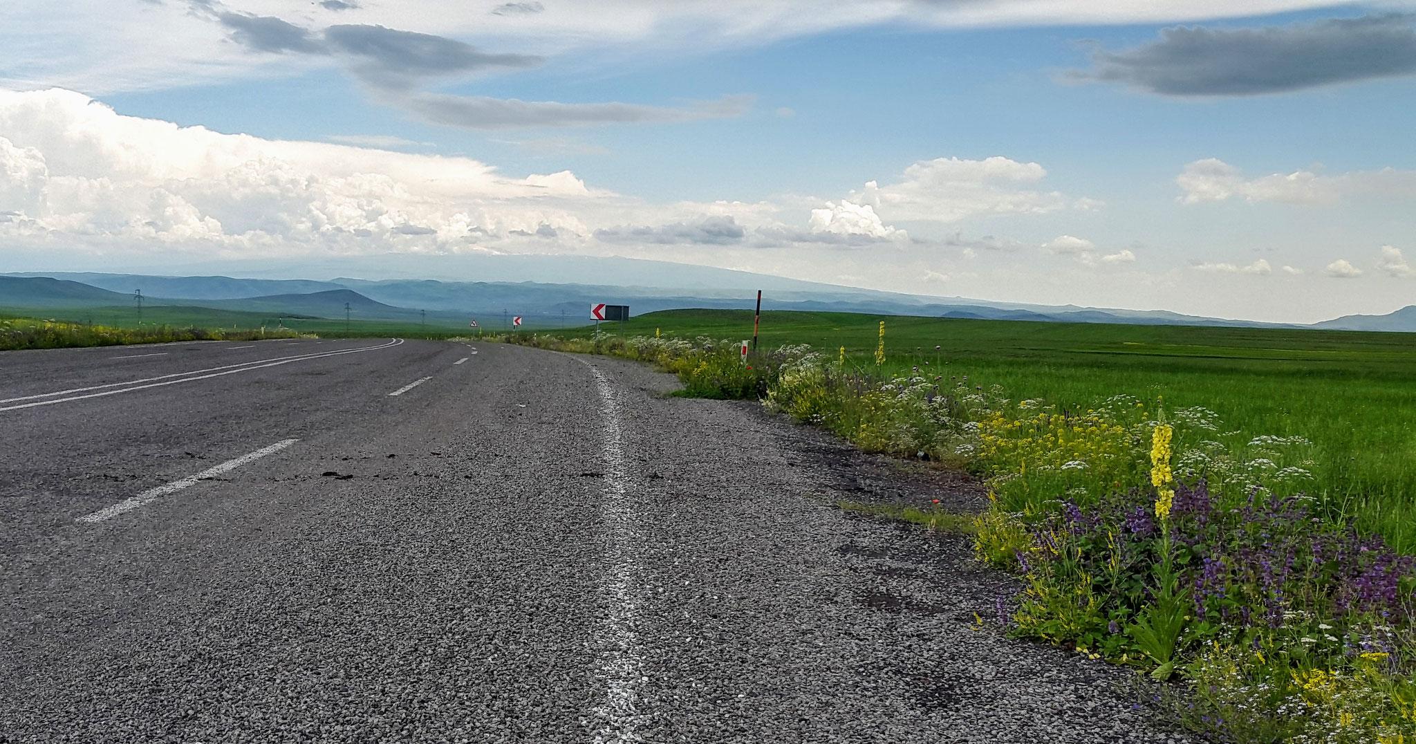 Unterwegs nach Ani, im Hintergrund der Berg Aragats in Armenien