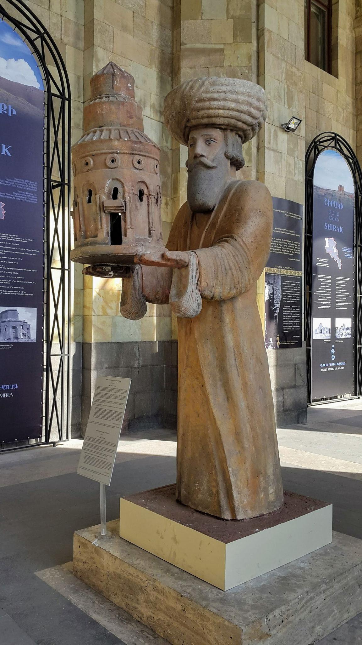 Replik einer Statue von König Gagik I, gefunden in Ani, Original verschwunden