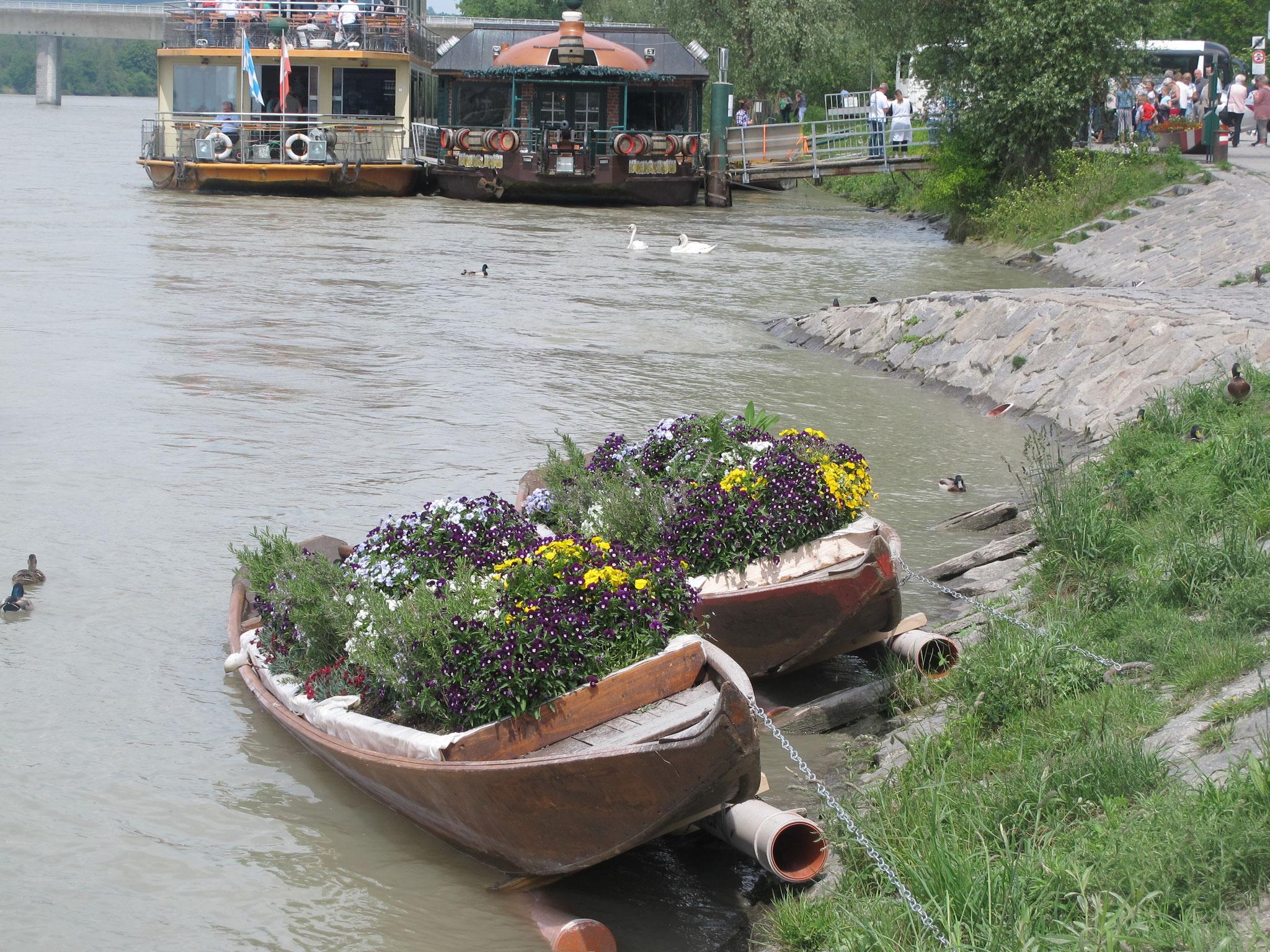 Inn mit Blumenschiffen