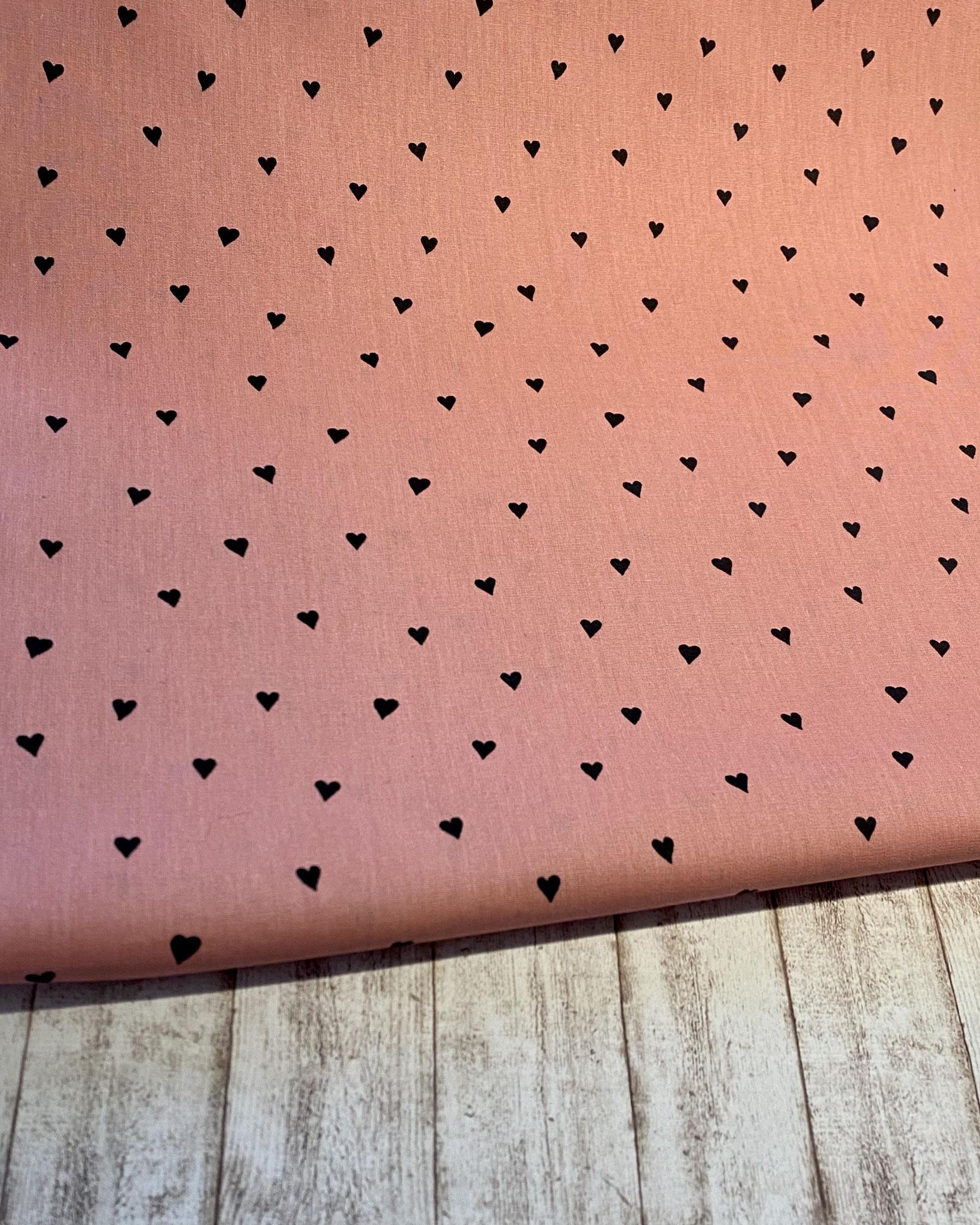 Herzen rosa / schwarz