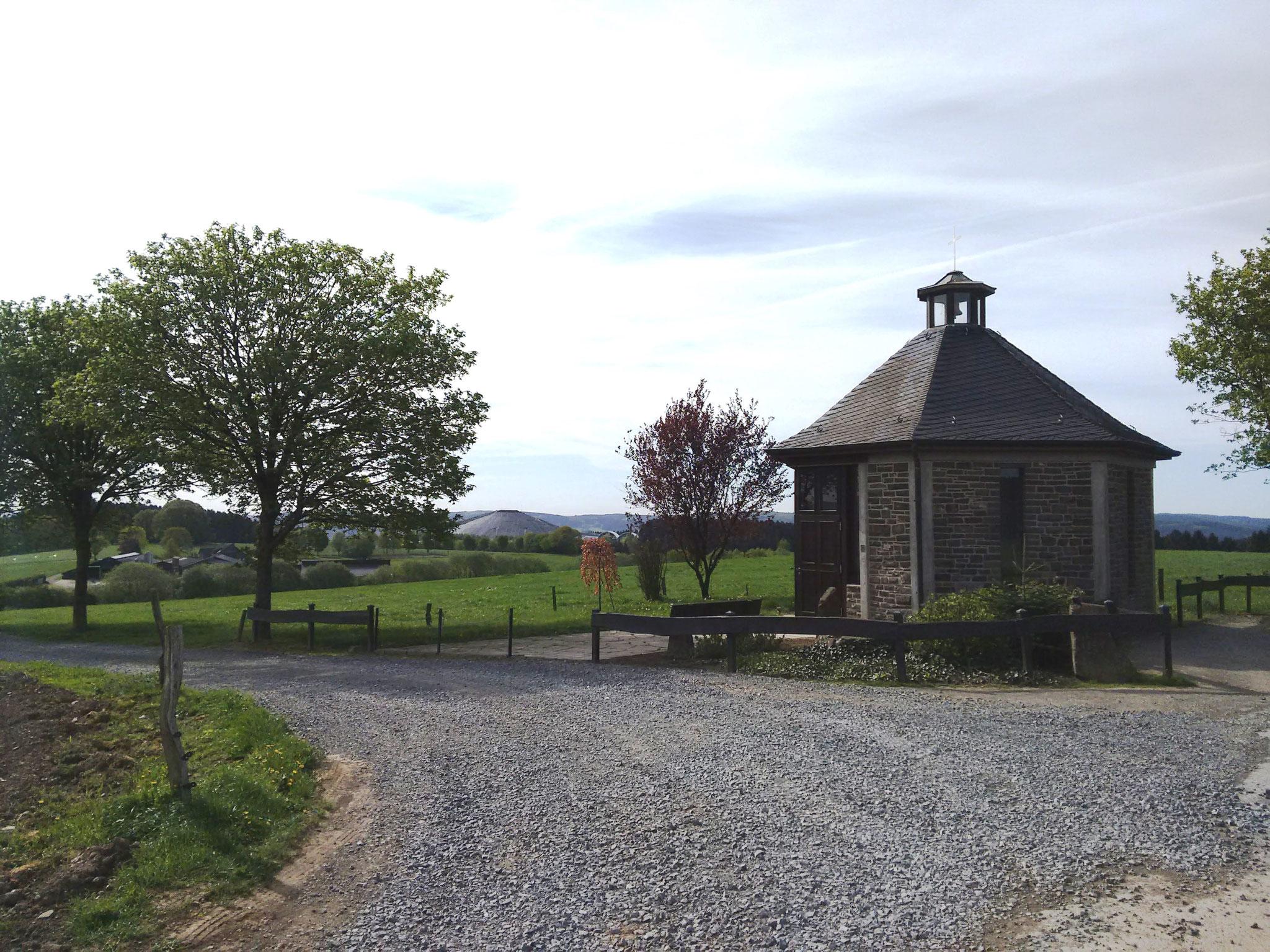 Die letzte Station im Geogame zum Bauernhof mit Rundblick über das Bergische Land.