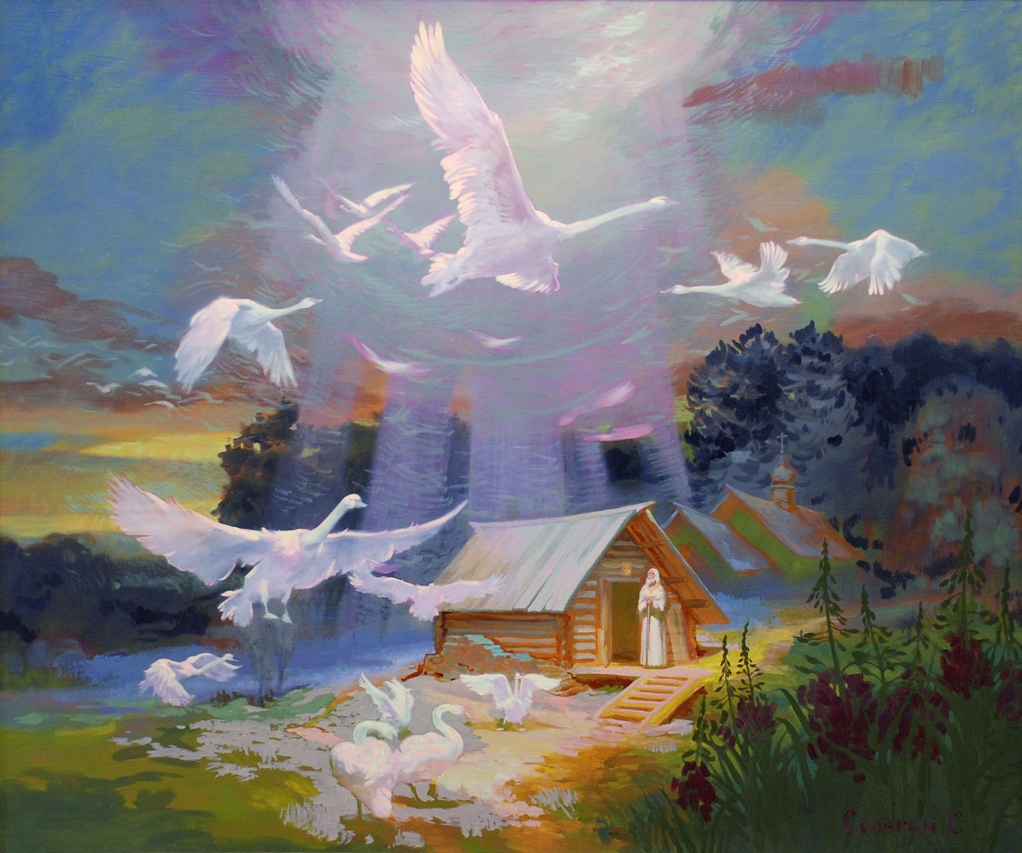 Явление птиц Сергию Радонежскому. 2014. холст масло. 140х100см