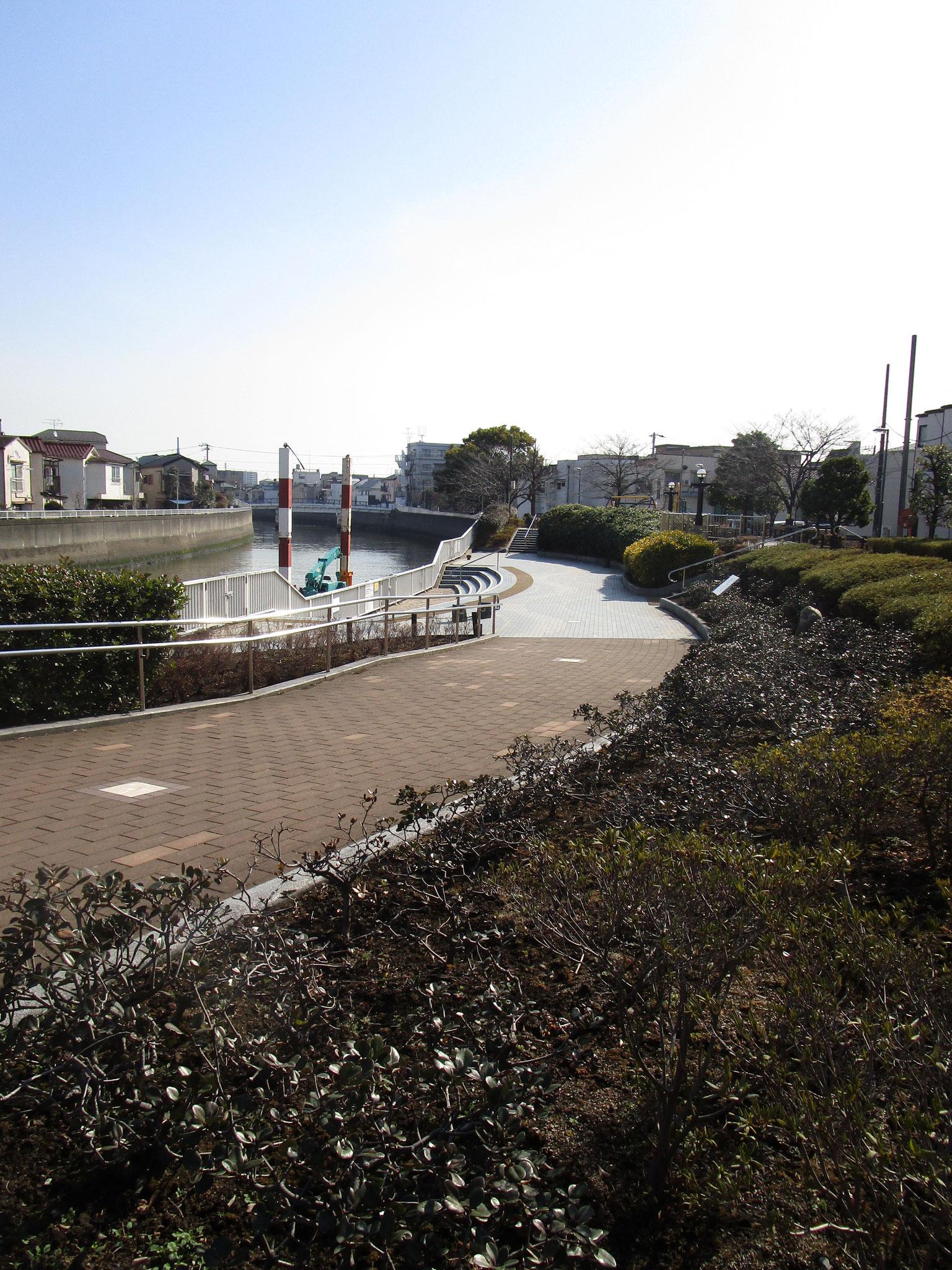 駅の北側にある「呑川」。「夫婦橋」から続く夫婦橋親水公園
