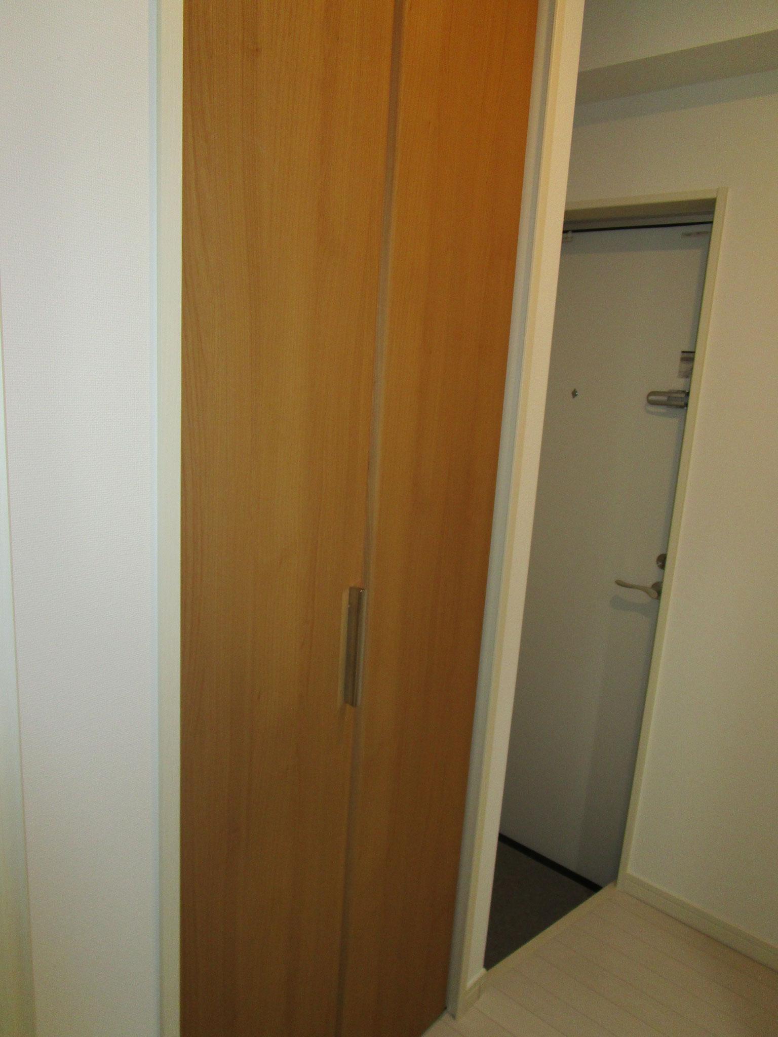 キッチンの向かいは扉付きの収納