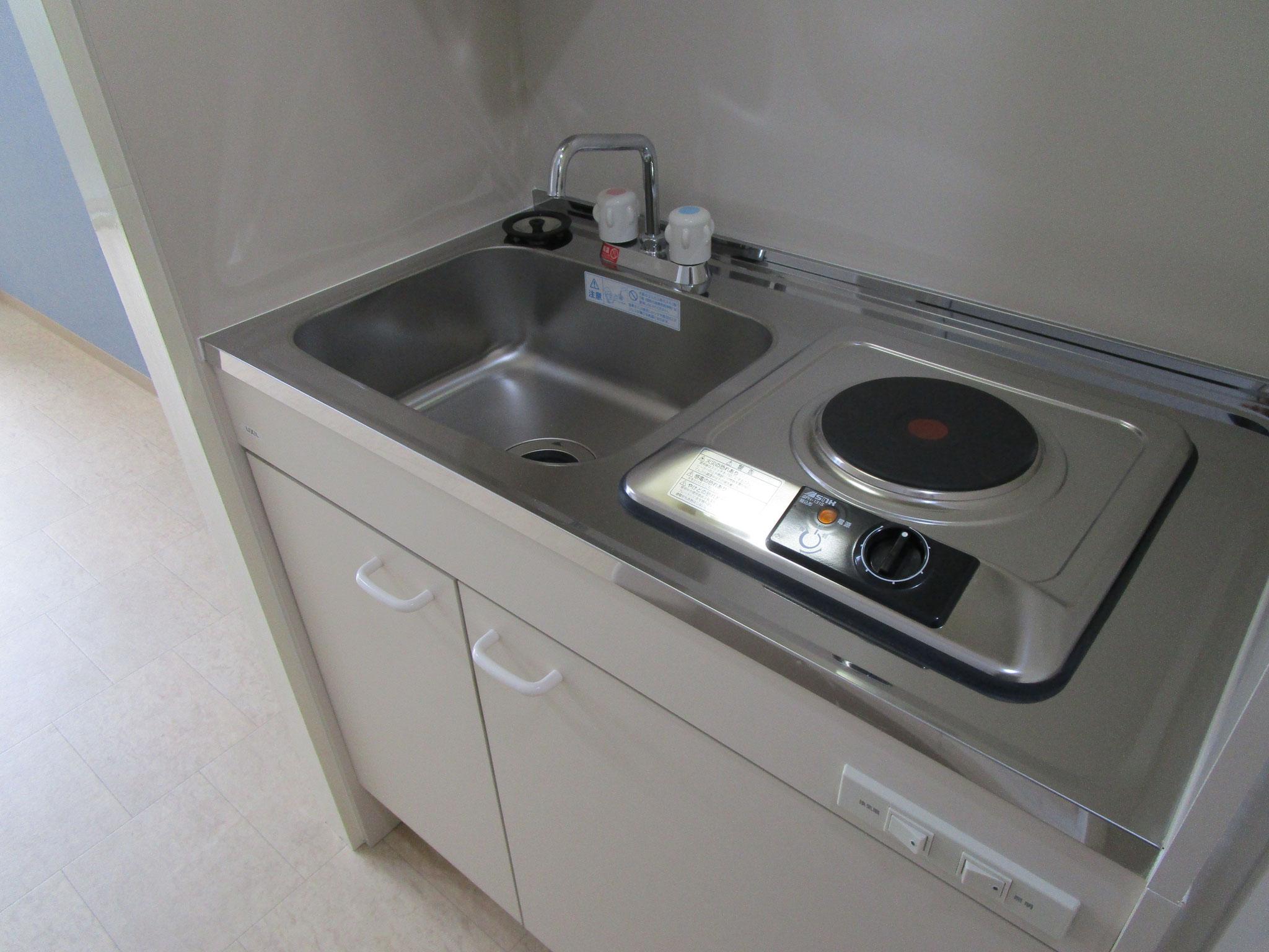 新規交換のキッチン。シンクの下は収納です