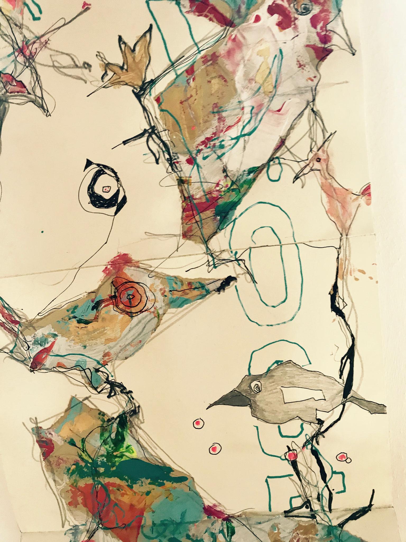 Ausschnitt aus dem Leporello Vögel