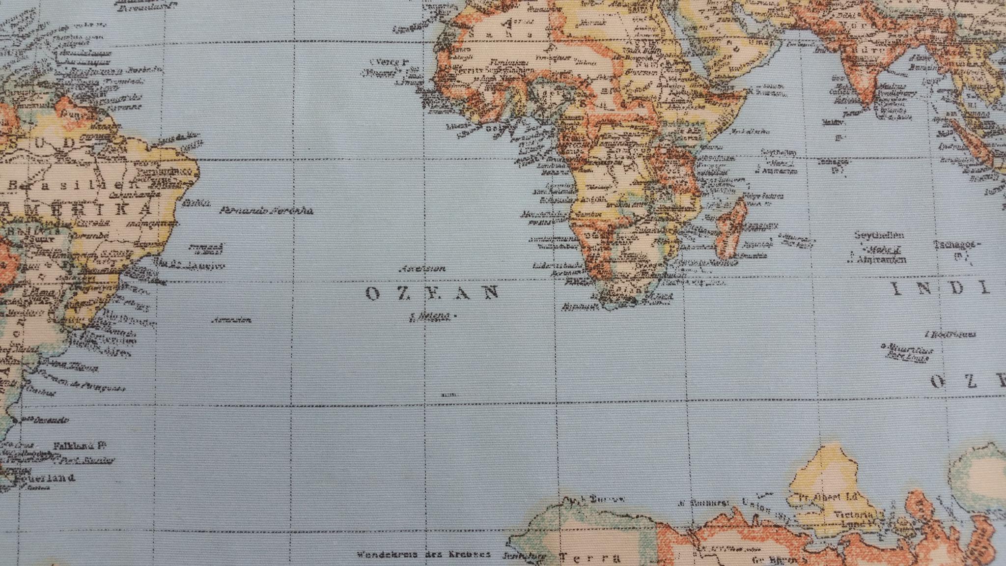 Tischset Weltkarte auf Baumwolle 35 x 26 cm auf Anfrage