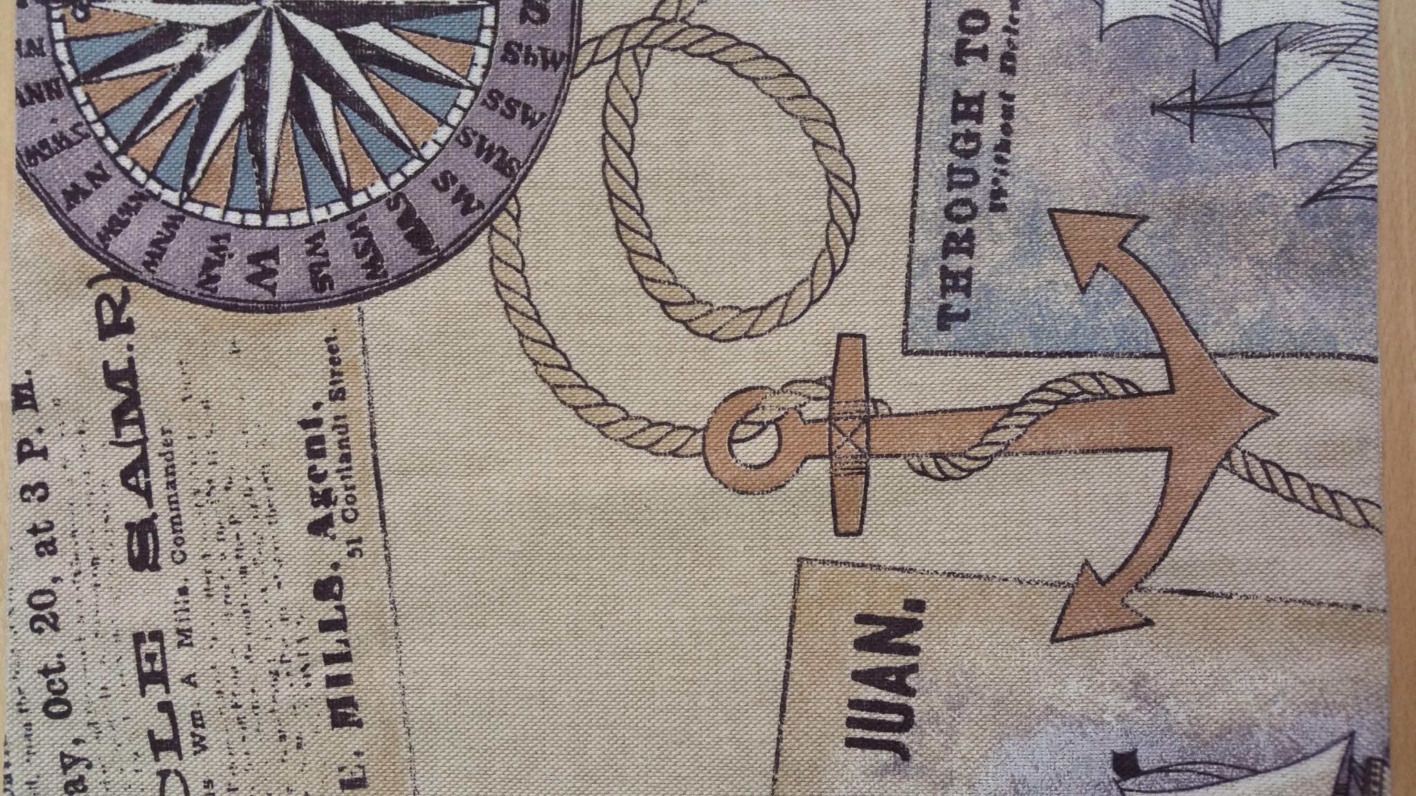 Tischset braun bläulich mit Nordstern Anker und Postkartenmotiven 38 x 29 cm uf Anfrage