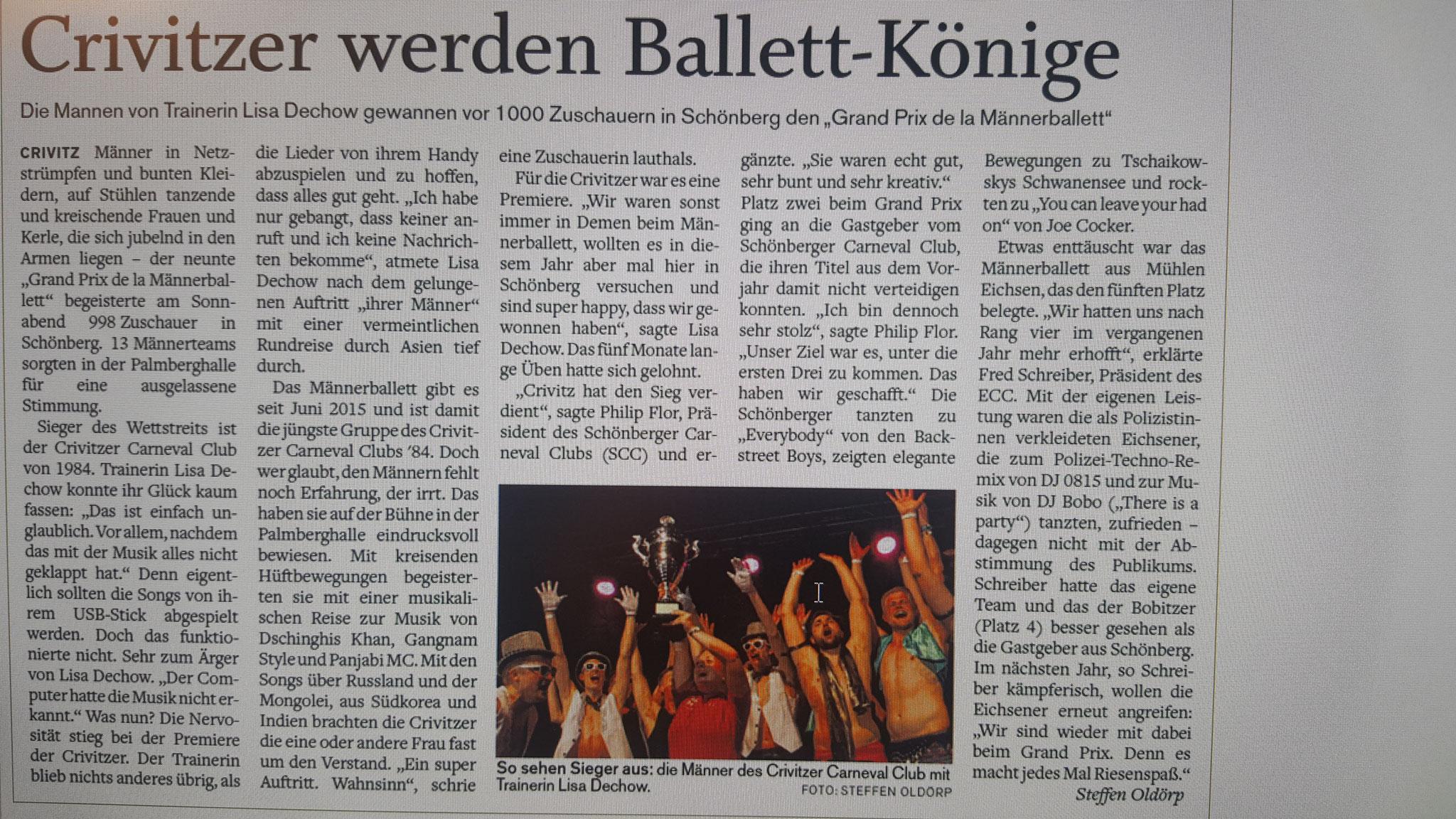 10.03.2018 1. Platz Grand Prix de la Männerballett in Schönberg