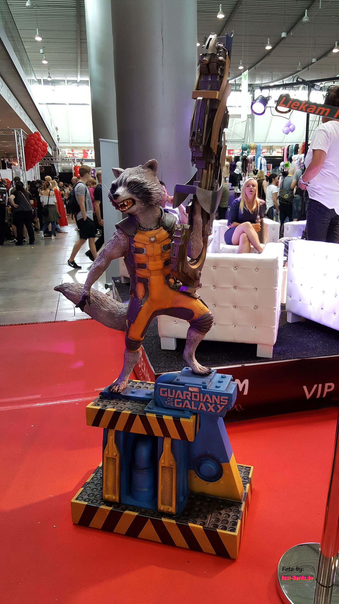 Rocket Racoon, lief auch als Cosplay auf der Messe rum