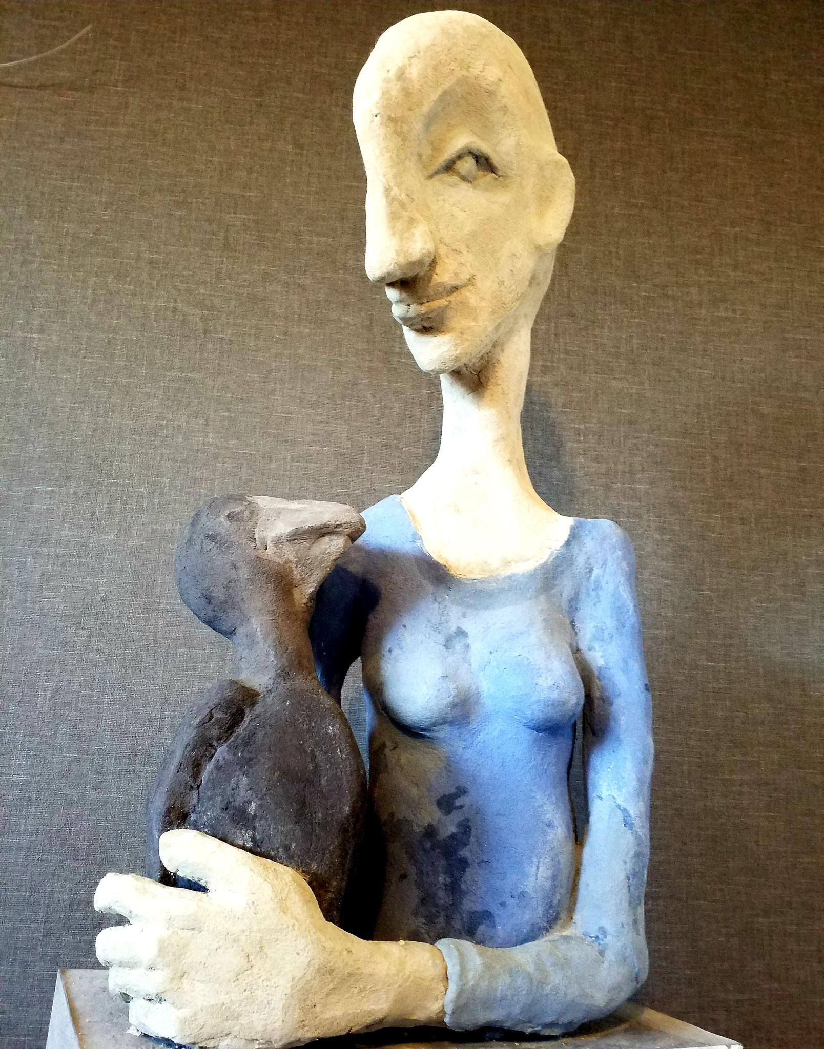 Frau mit Vogel (Ola Schmidt)