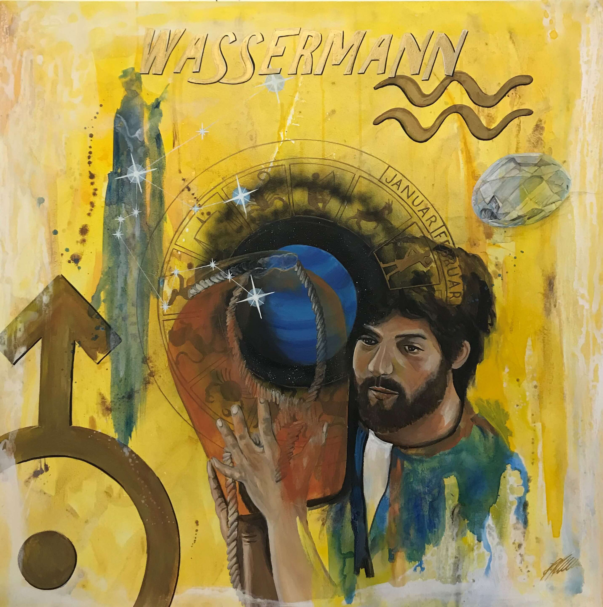 """Fr. 950.00 """"Wassermann, Serie spirit"""" Acryl auf Leinwand 100 x 100 cm."""