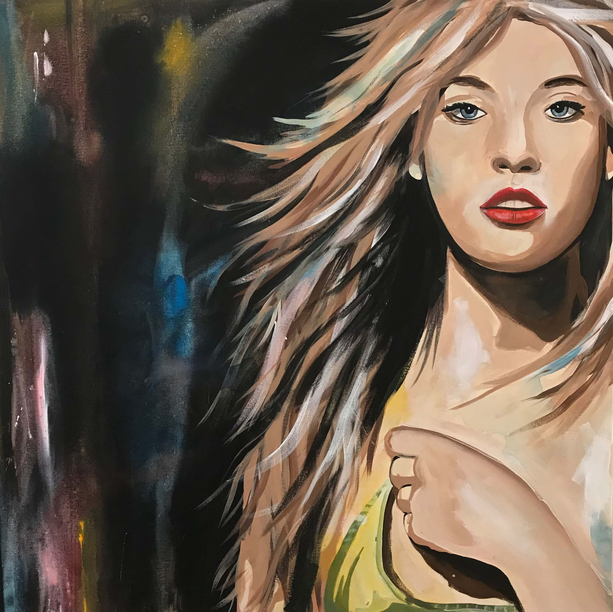 "Fr.  750.00 ""Blondes Model"" Acryl auf Leinwand mit Rahmen 80 x 80 cm."