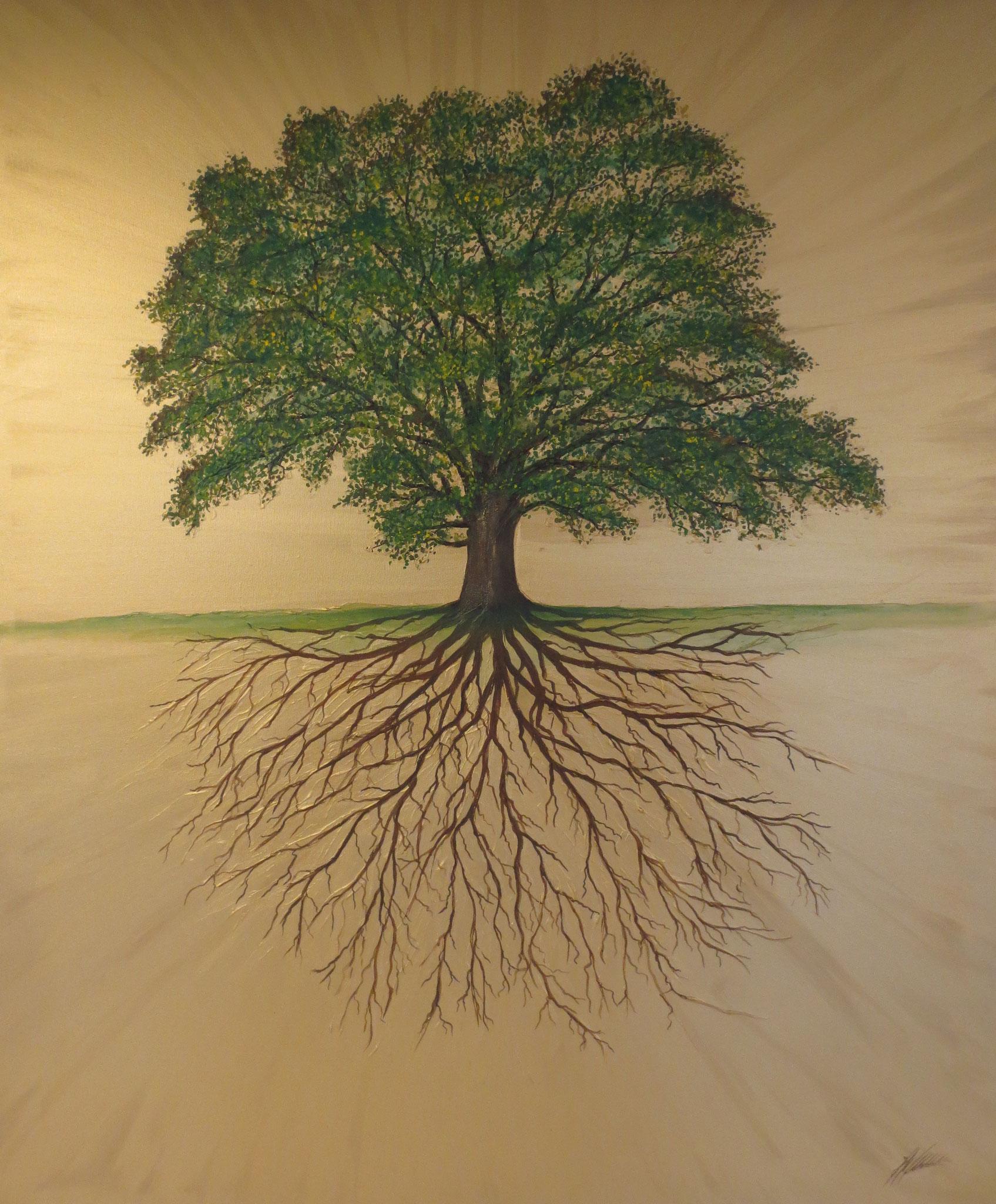 """""""Wurzelbaum"""" Acryl auf Leinwand 100 x 100 cm."""