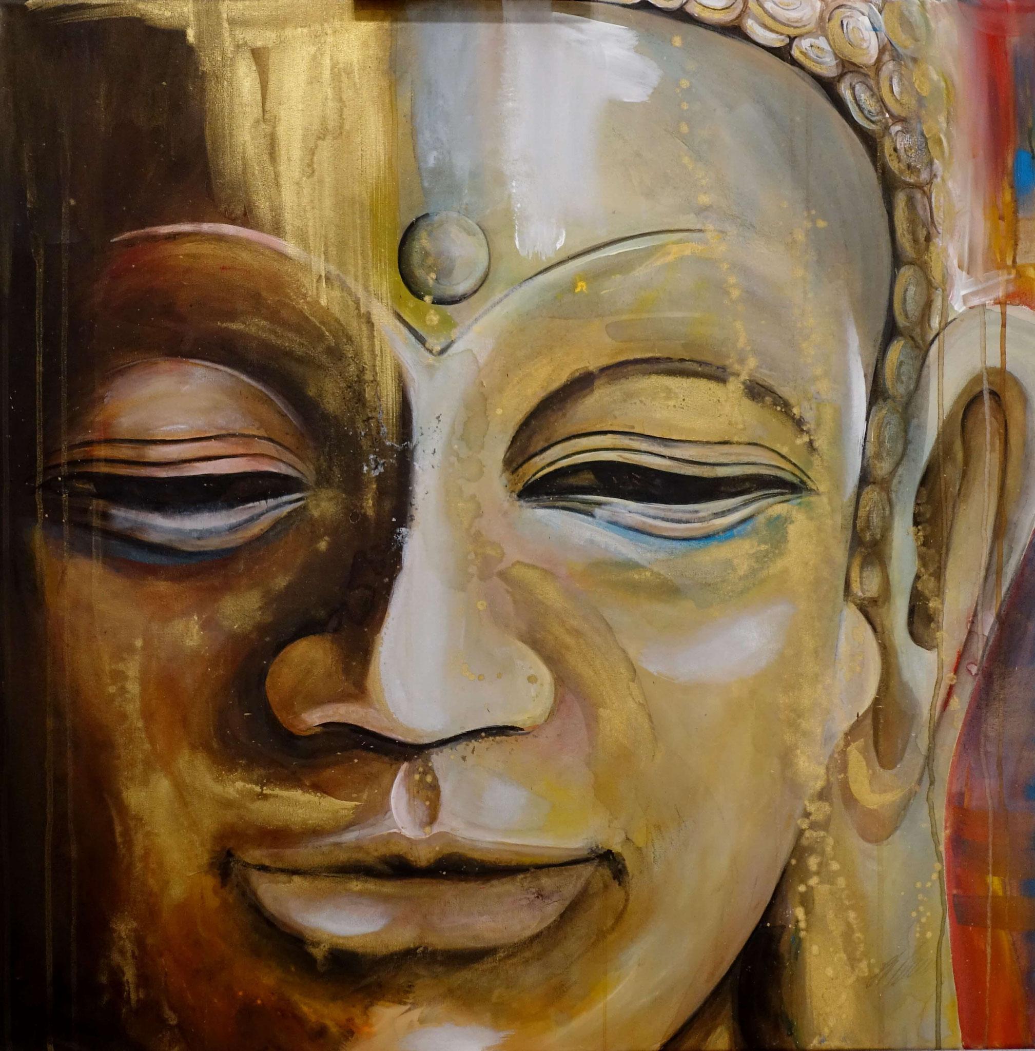 """""""Buddha"""" Acryl auf Leinwand 80 x 80 cm."""