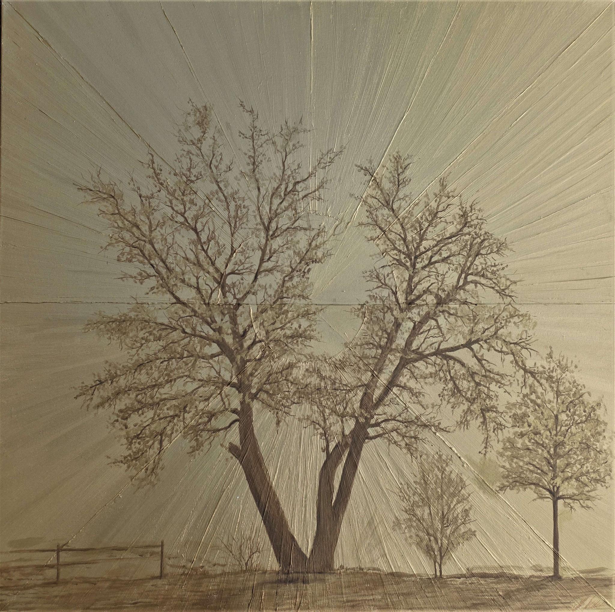 """Fr. 750.00 """"Goldbaum"""" Goldfarbe auf Leinwand 100 x 100 cm."""