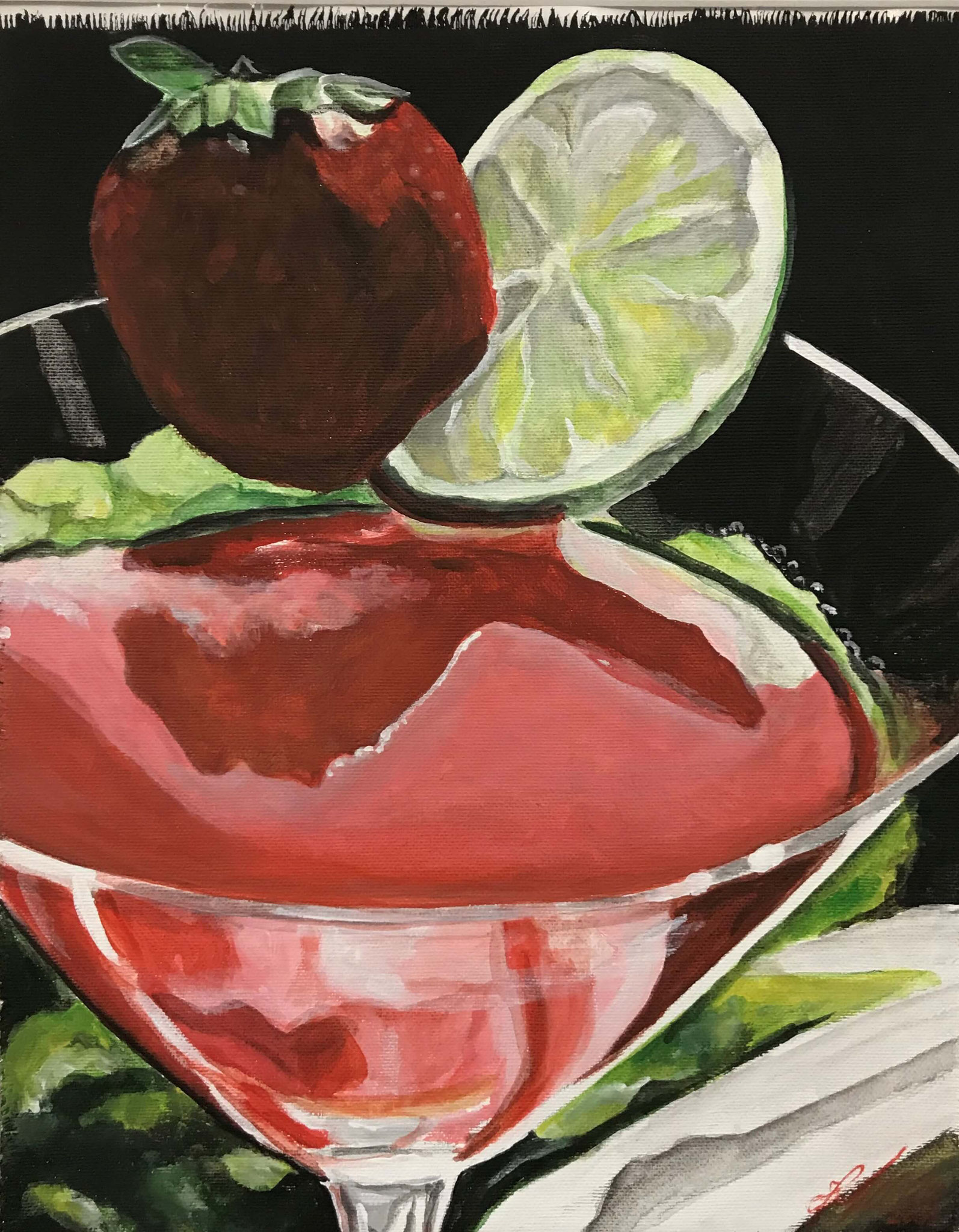 "Fr. 420.00 ""Erdbeer Cocktail"" Acryl auf Leinwand 40 x 50 cm."