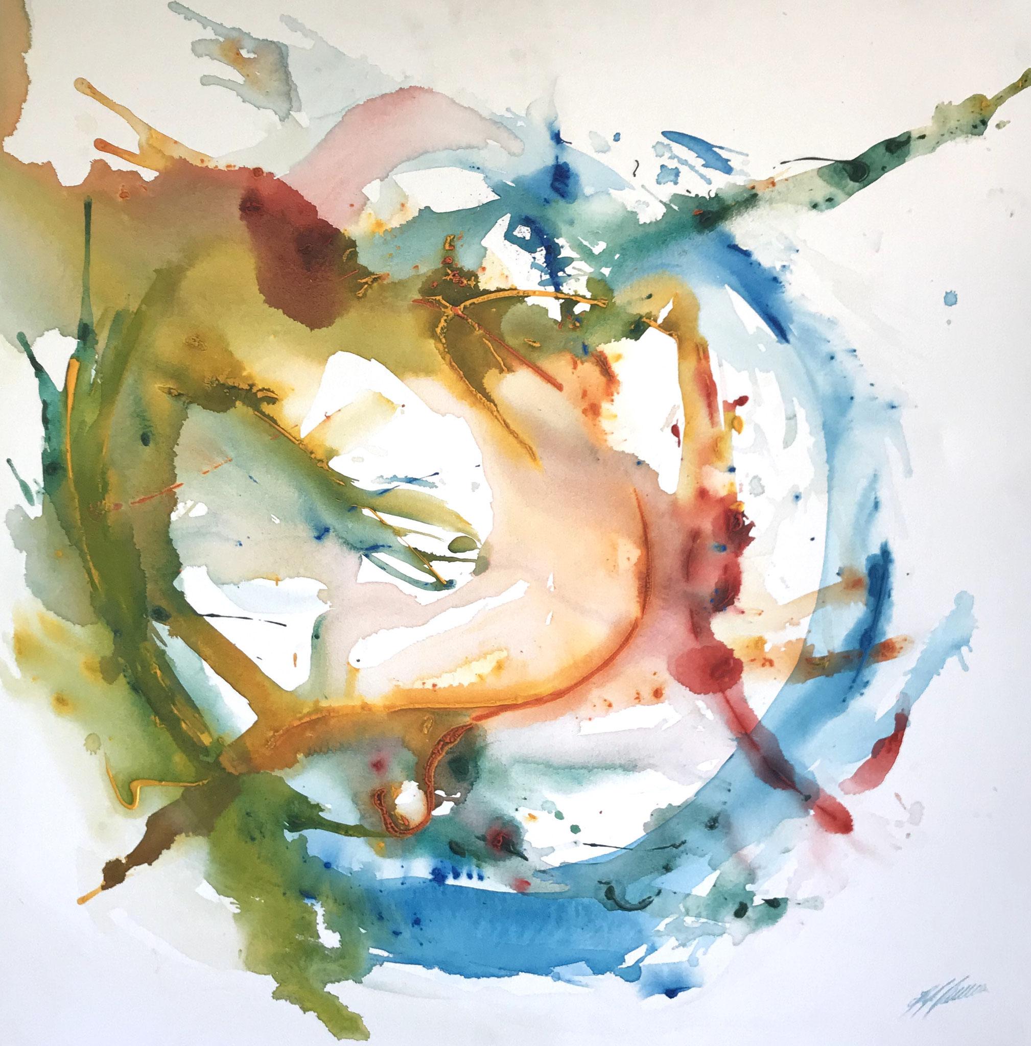 """""""Farbkomposition III"""" Acryl auf Leinwand 100 x 100 cm."""