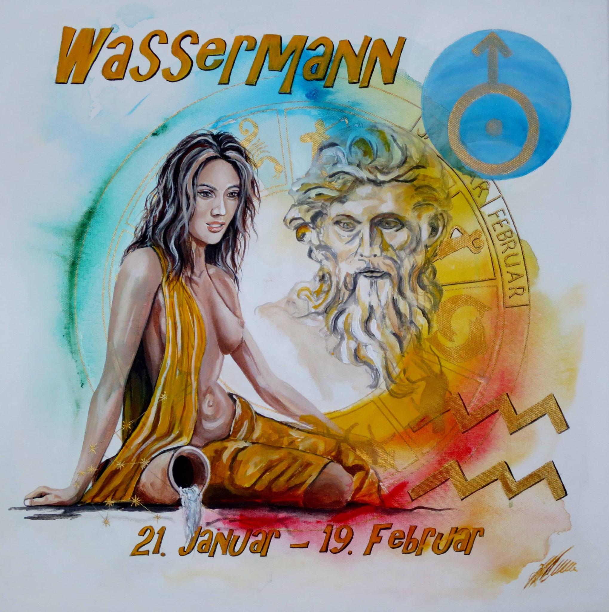 "Fr. 480.00 ""Wassermann, Serie classic"" Acryl auf Leinwand mit Rahmen 60 x 60 cm."