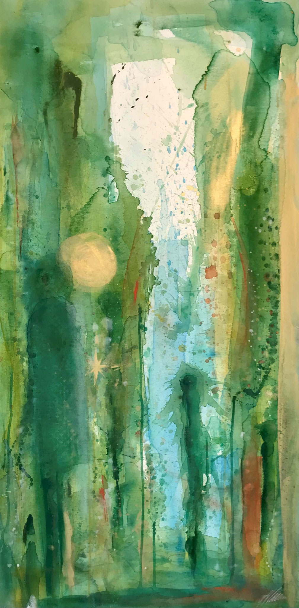 """""""Grün 3"""" Acryl auf Leinwand 70 x 140 cm."""