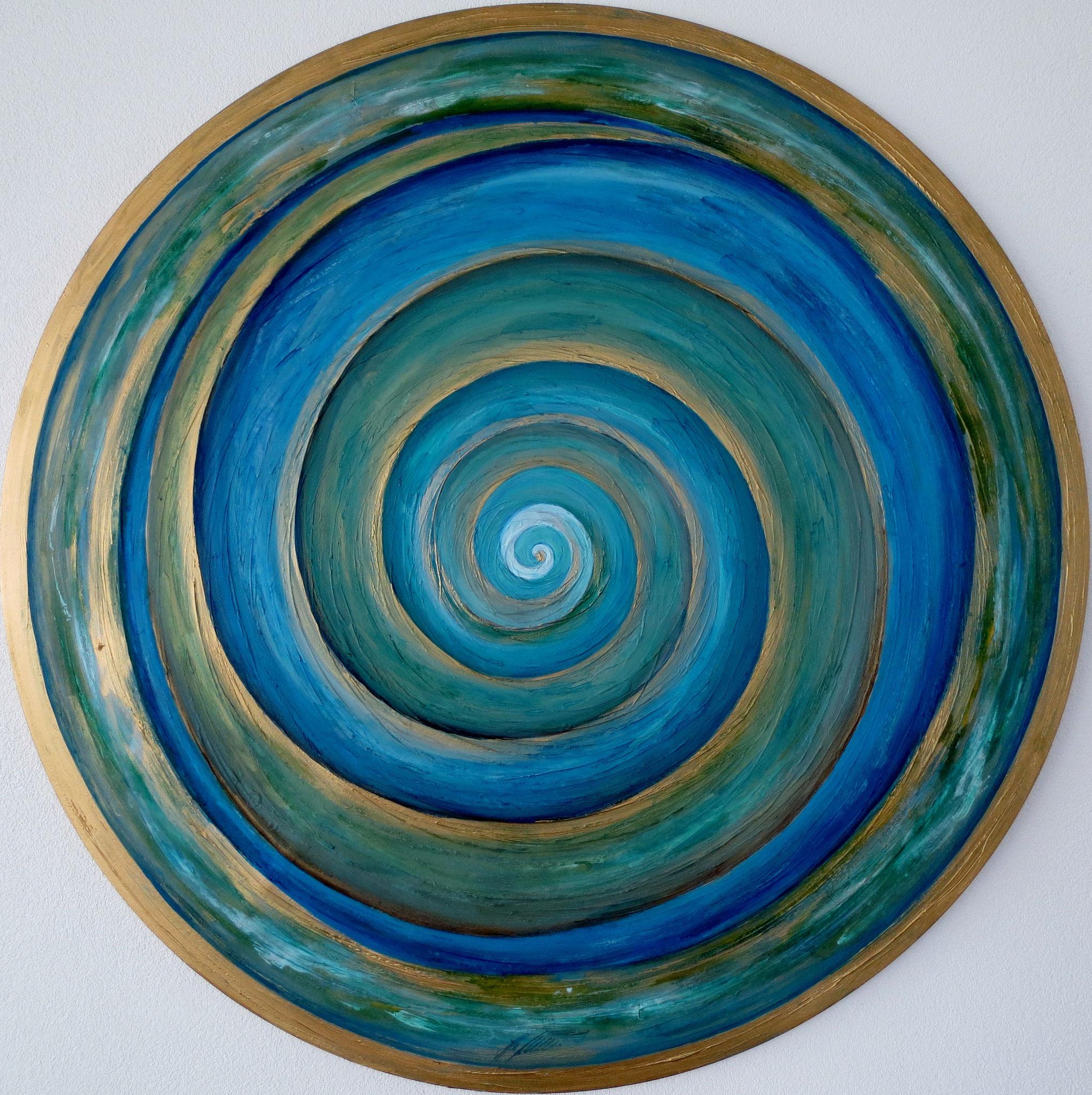 """""""Spirale"""" Acryl auf Leinwand Durchmesser 110 cm."""