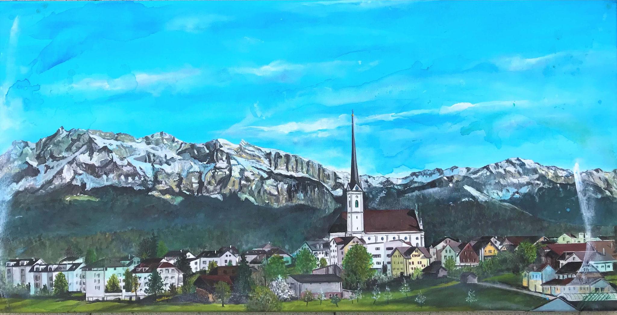 "Fr. 750.00 ""Rain mit Kirche"" Acryl auf Leinwand 140 x 70 cm."