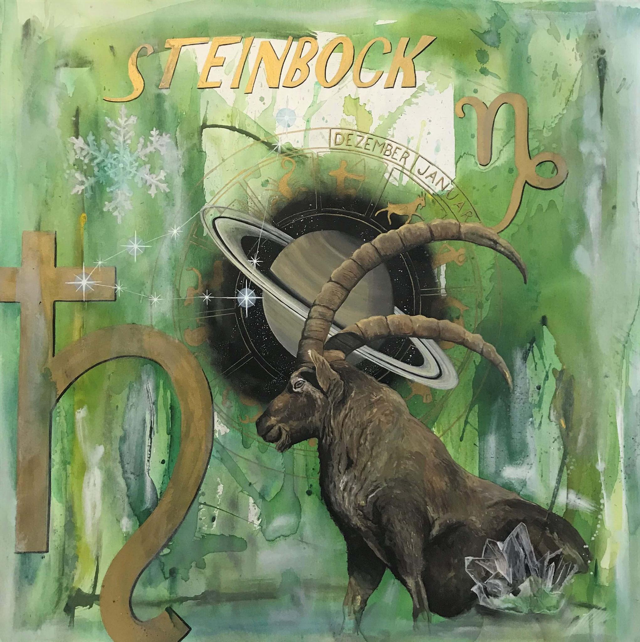 """Fr. 950.00 """"Steinbock, Serie spirit"""" Acry auf Leinwand 100 x 100 cm."""