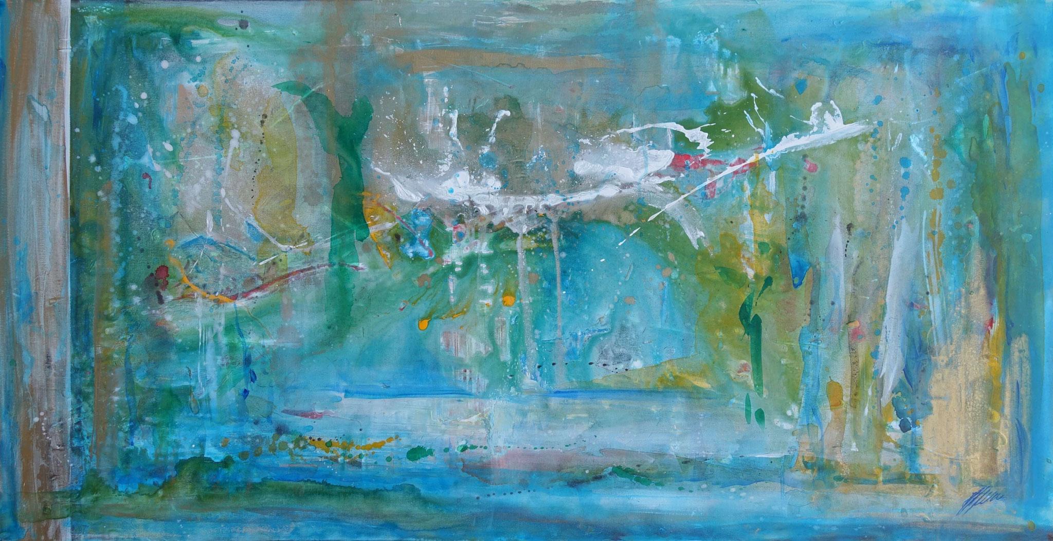 """""Blaue Landschaft"" Acryl auf Leinwand 140 x 70 cm."