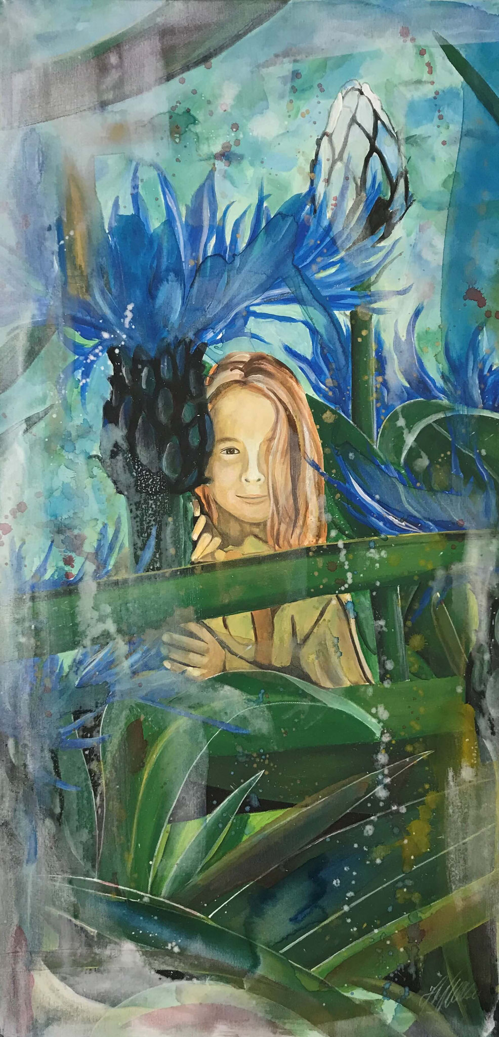 """Fr. 650.00 """"Mädchen im Garten"""" Acryl auf Leinwand 50 x 100 cm."""