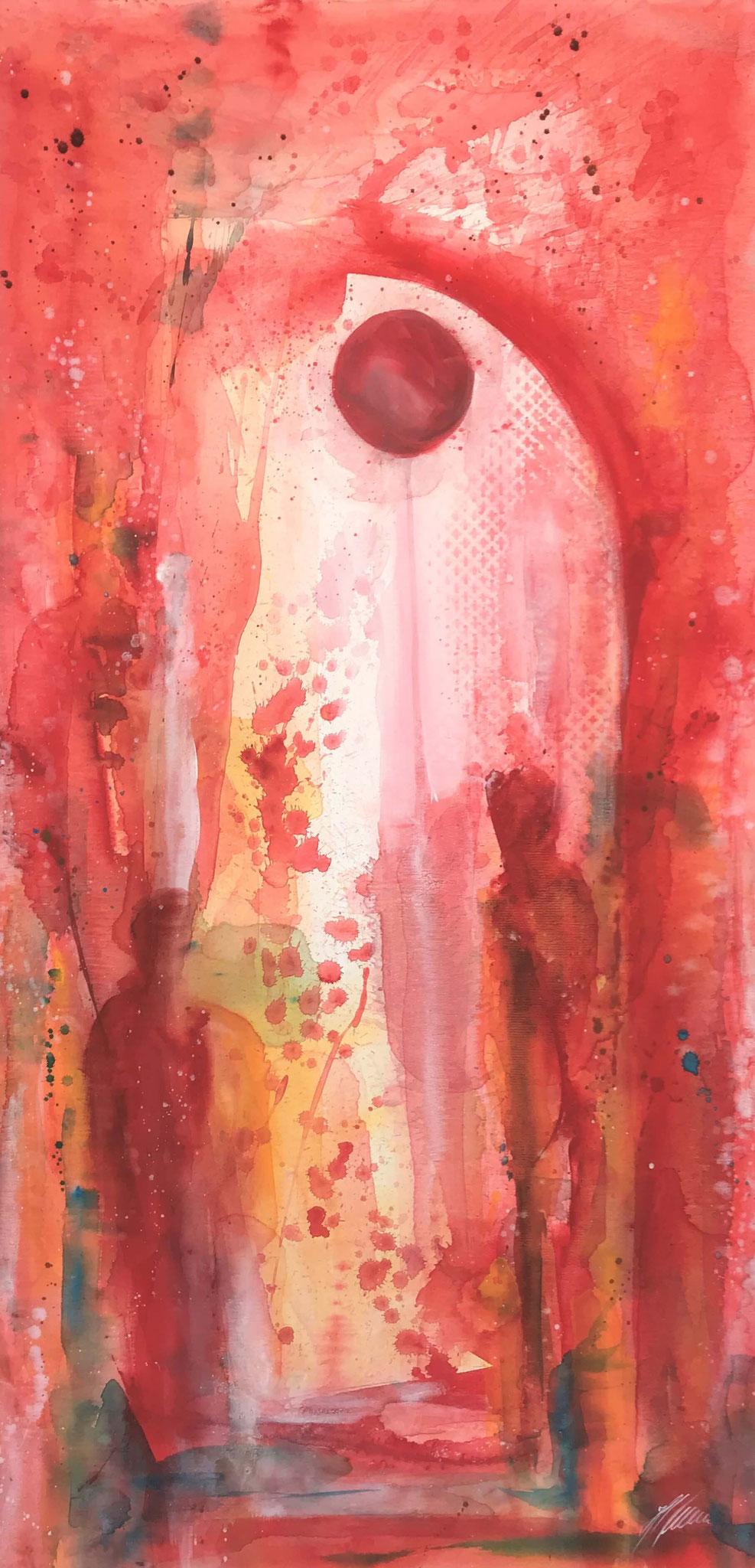 """Rot 3"" Acryl auf Leinwand 70 x 140 cm."