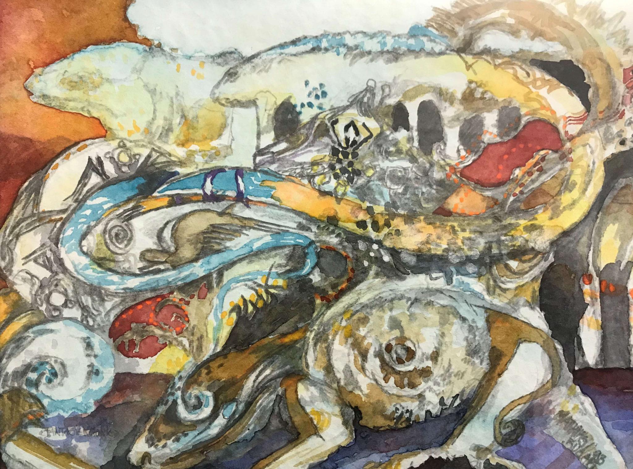 Fr. 350.00 Mathias Bugari, Aquarelle auf Papier mit Rahmen 20 x 15 cm.