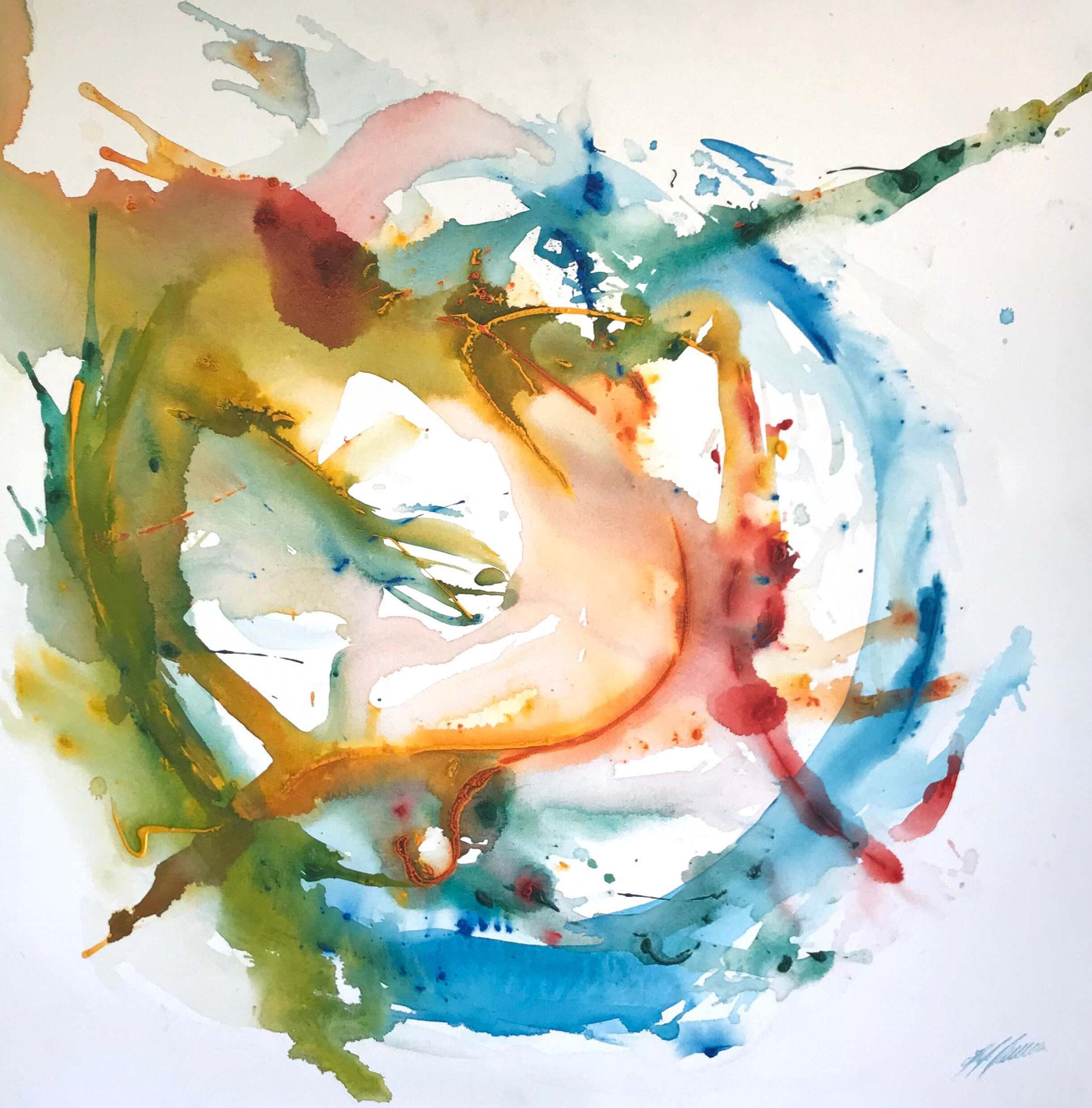 """Fr. 850.00 """"Abstract"""" Acryl auf Leinwand 100 x 100 cm."""