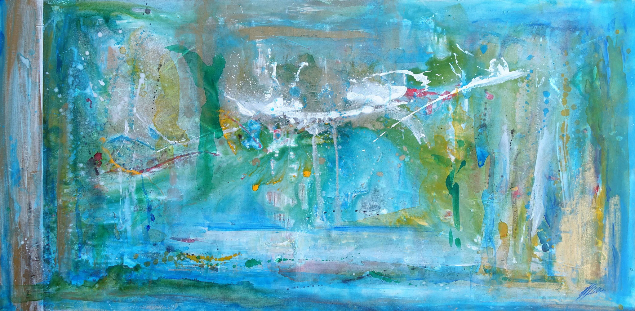 """Fr. 850.00 """" Engel in Blau"""" Acryl auf Leinwand 70 x 140 cm."""