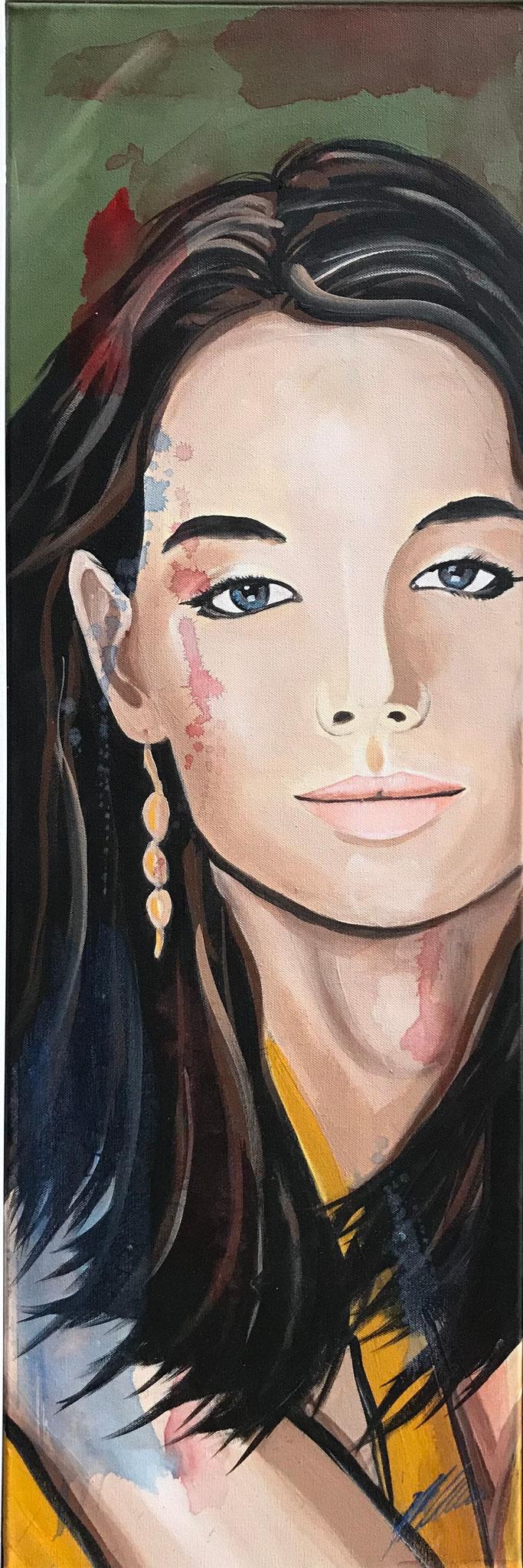 """Fr. 520.00 """"Portrait Frau"""" Acryl auf Leinwand mit Rahmen 30 x 90 cm."""