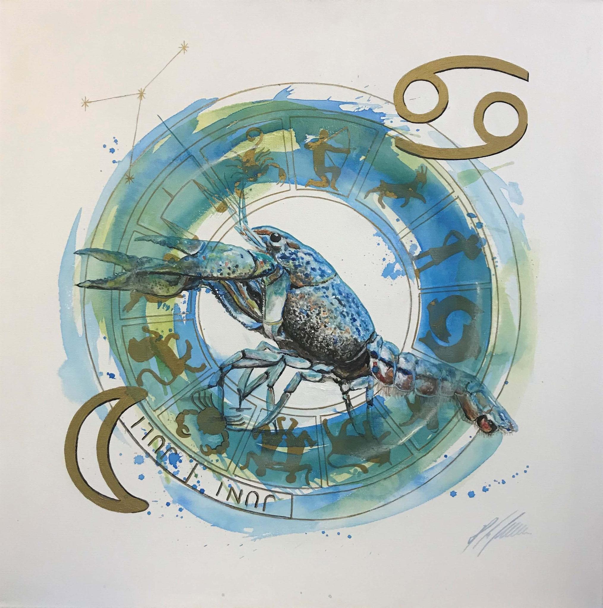 "Fr. 480.00 ""Krebs, Serie modern"" Acryl auf Leinwand mit Rahmen 60 x 60 cm."