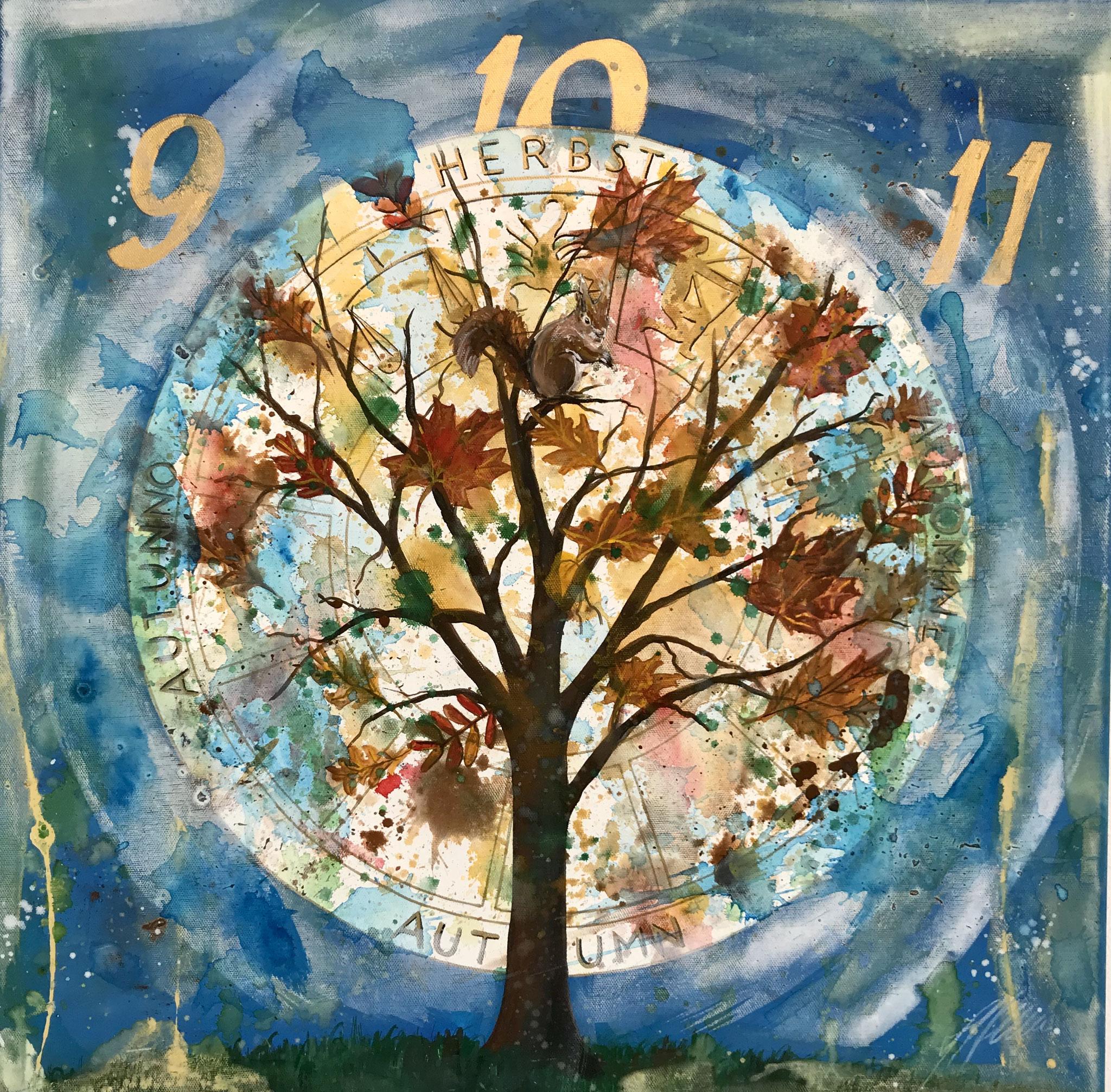 """""""Herbst bei 5 Jahreszeiten"""" Acryl auf Leinwand 60 x 60 cm."""