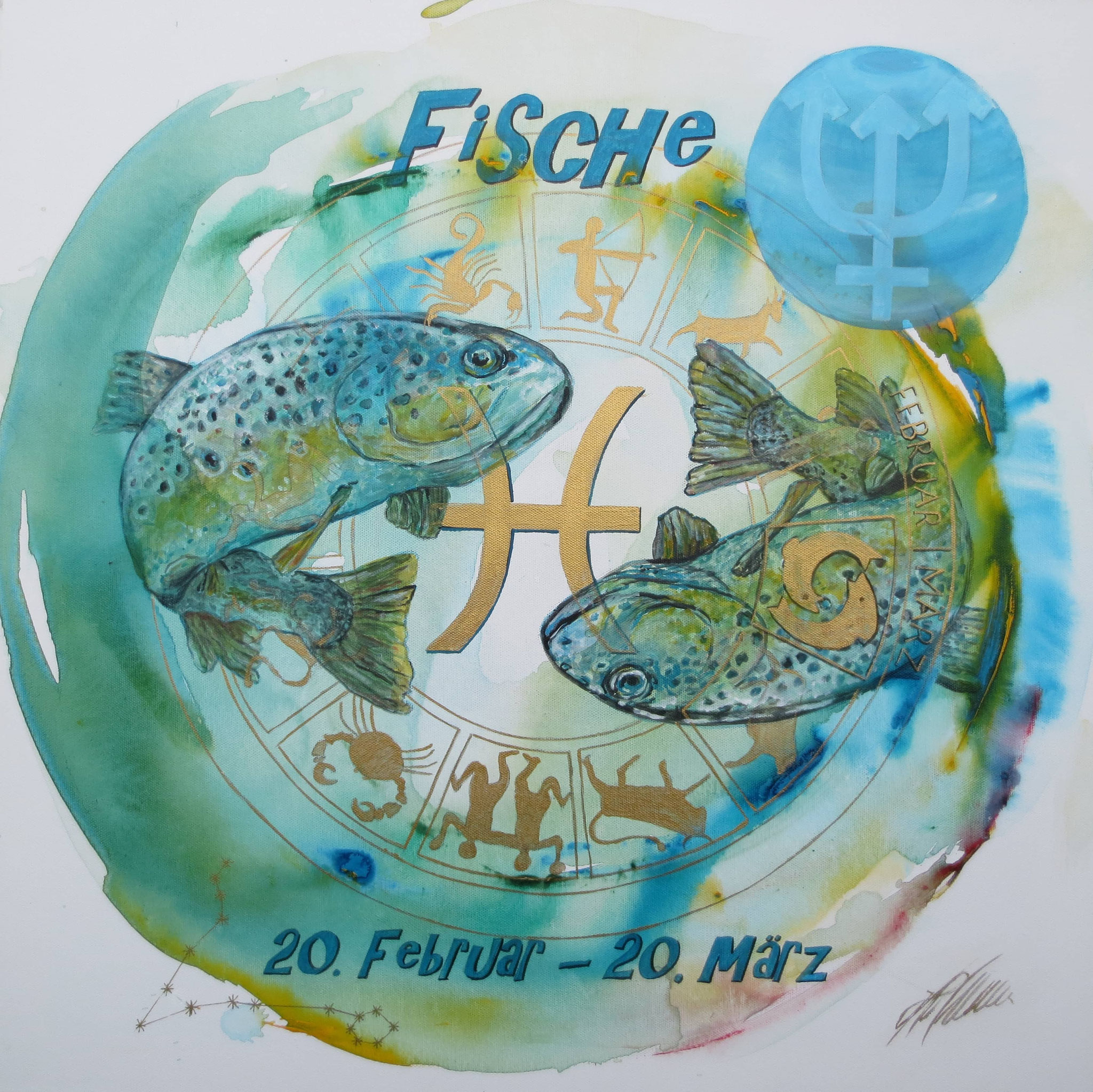 """Fr. 480.00 """"Fische, Serie classic"""" Acryl auf Leinwand mit Rahmen 60 x 60 cm."""