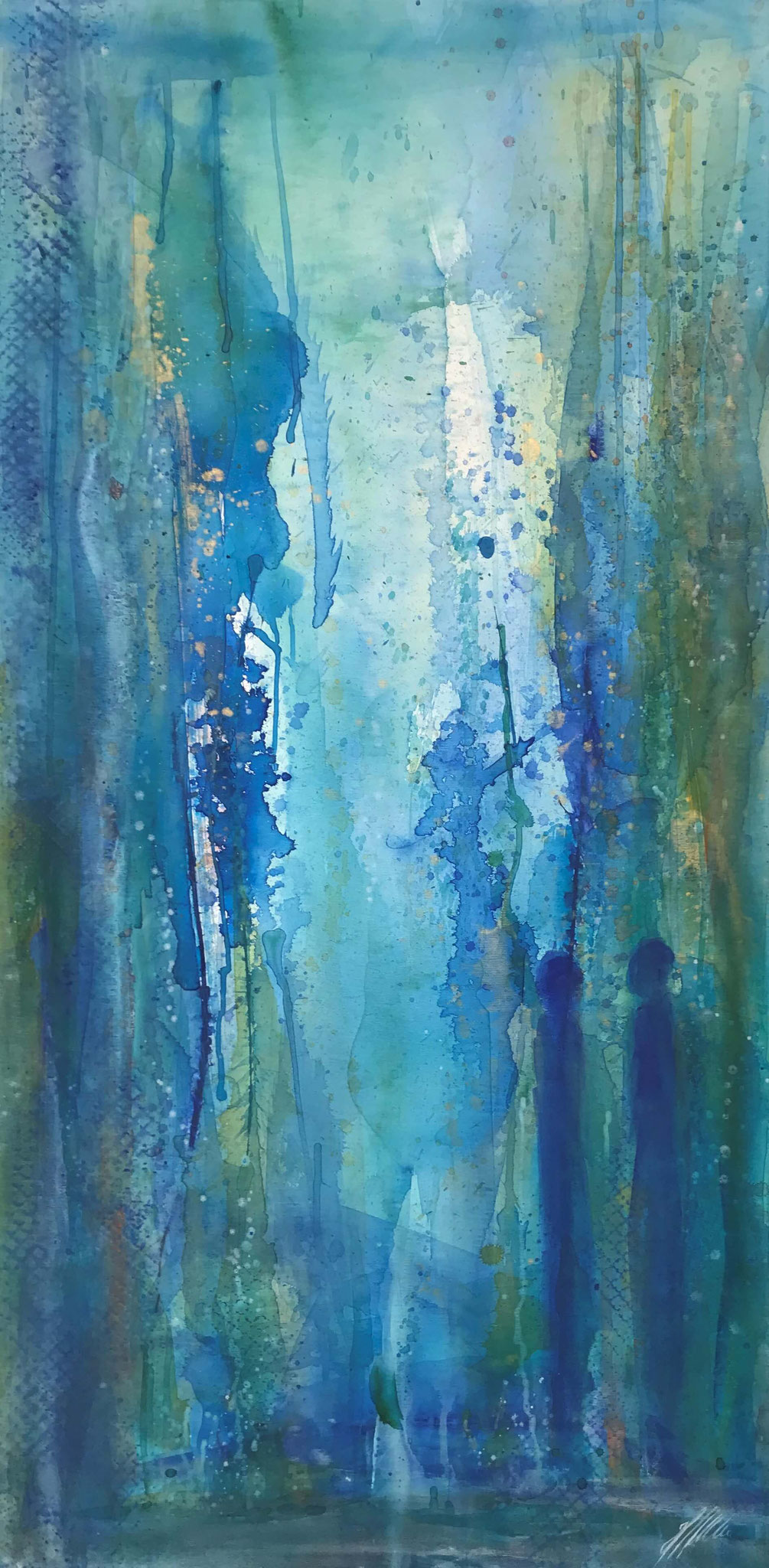 """""""Blau 3"""" Acryl auf Leinwand 70 x 140 cm"""