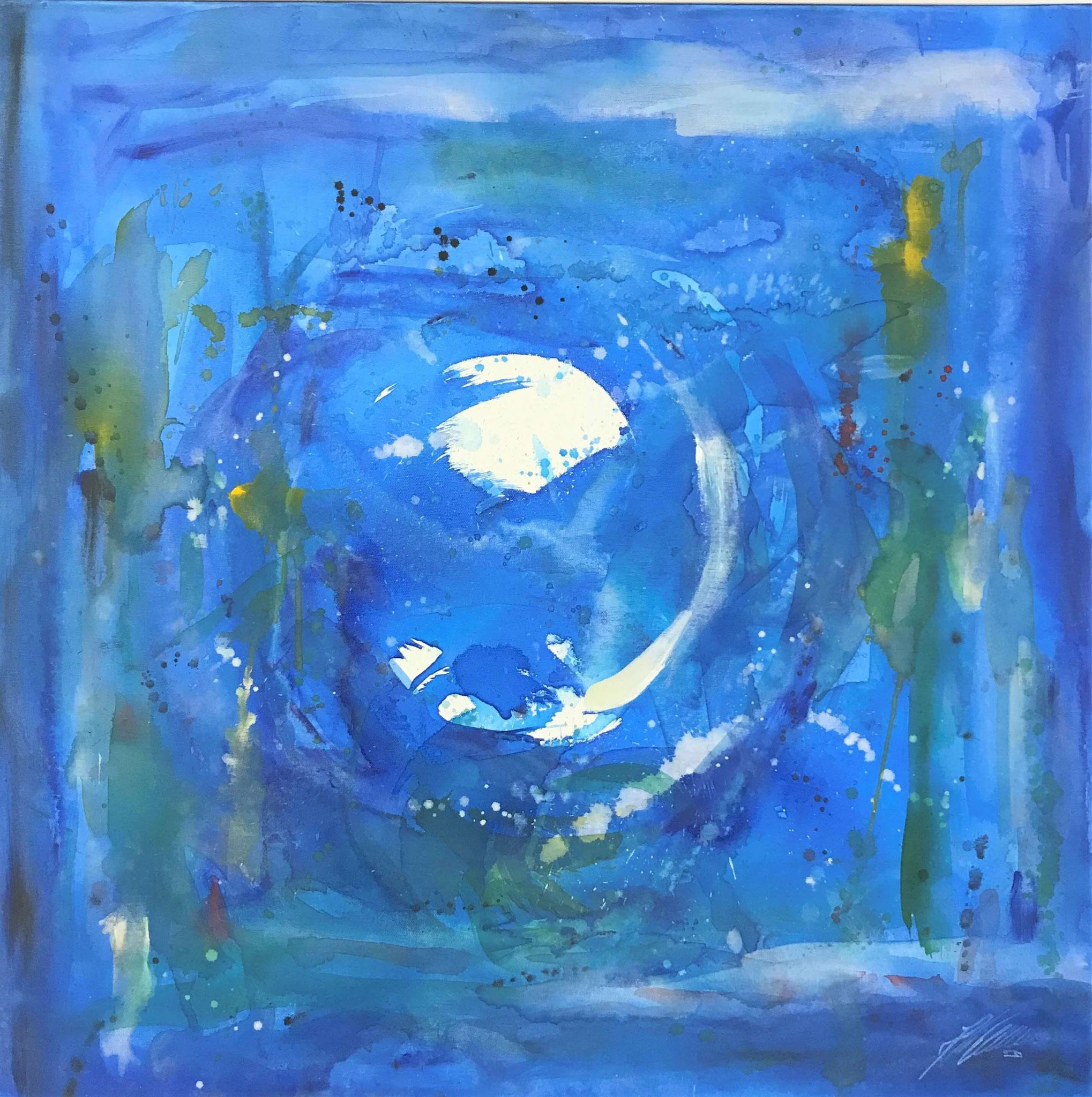 "Fr. 560.00 ""Krebs, Serie abstract"" Acryl auf Leinwand mit Rahmen 80 x 80 cm."