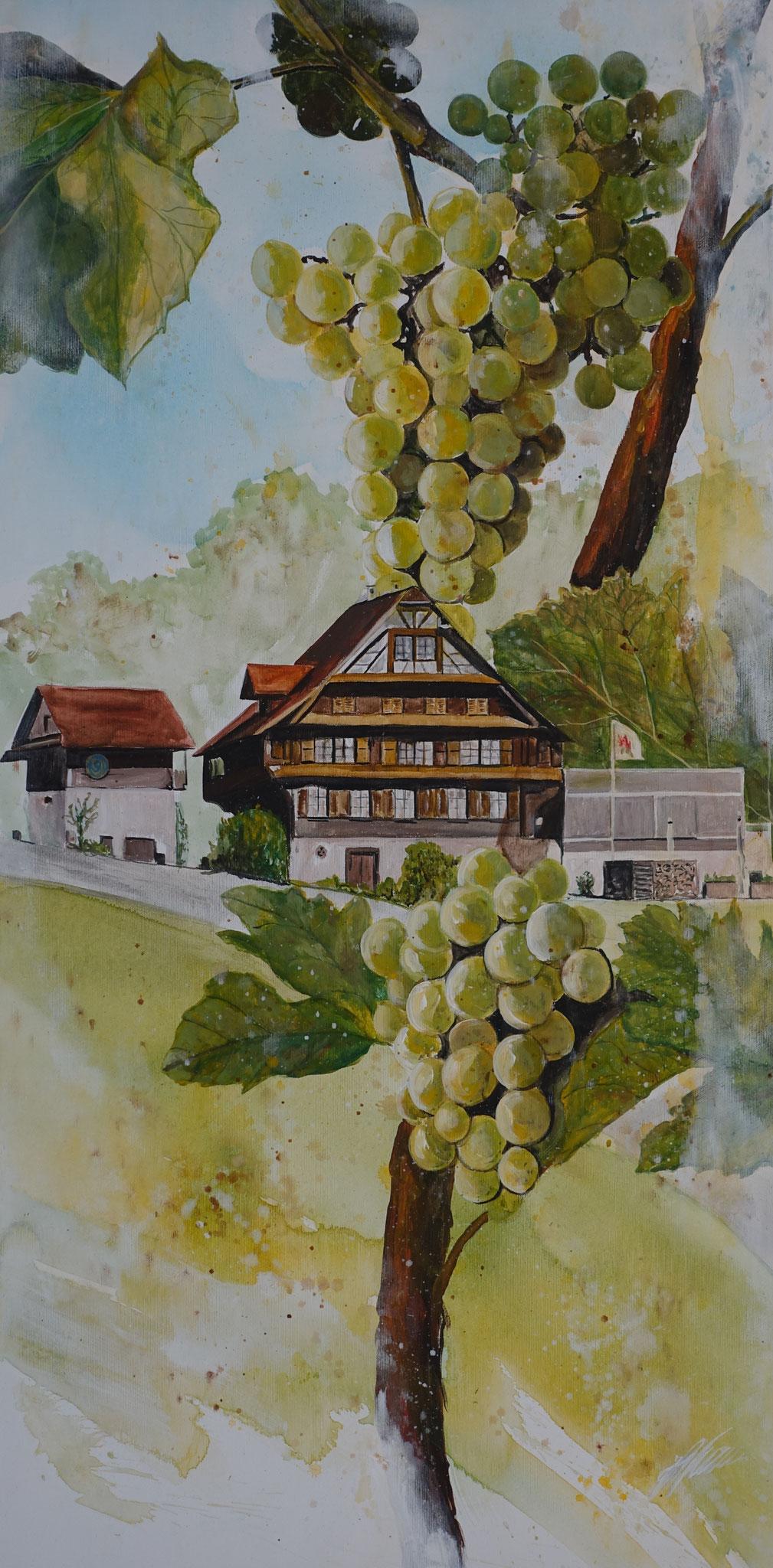 """""""Landhaus Leuenstern"""" Acryl auf Leinwand 100 x 50 cm."""