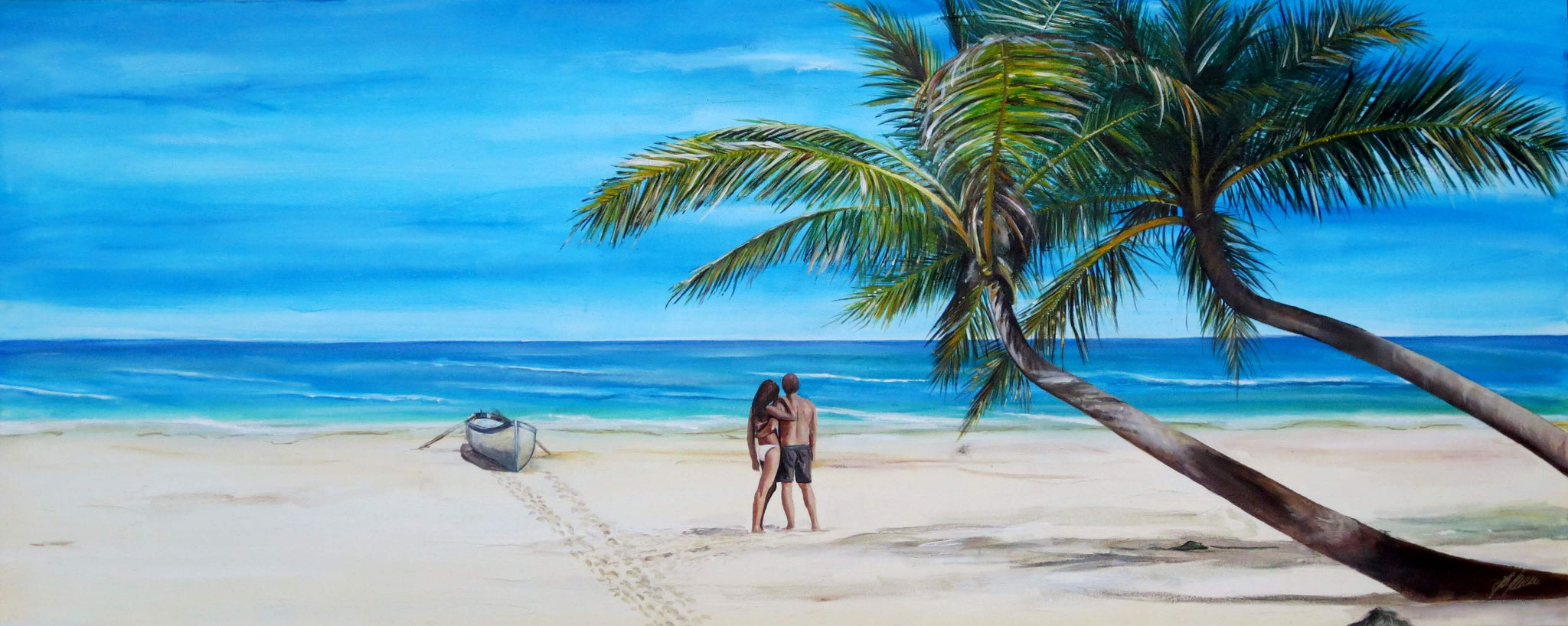 """Liebespaar am Strand"" Acryl auf Leinwand 74 x 183 cm."