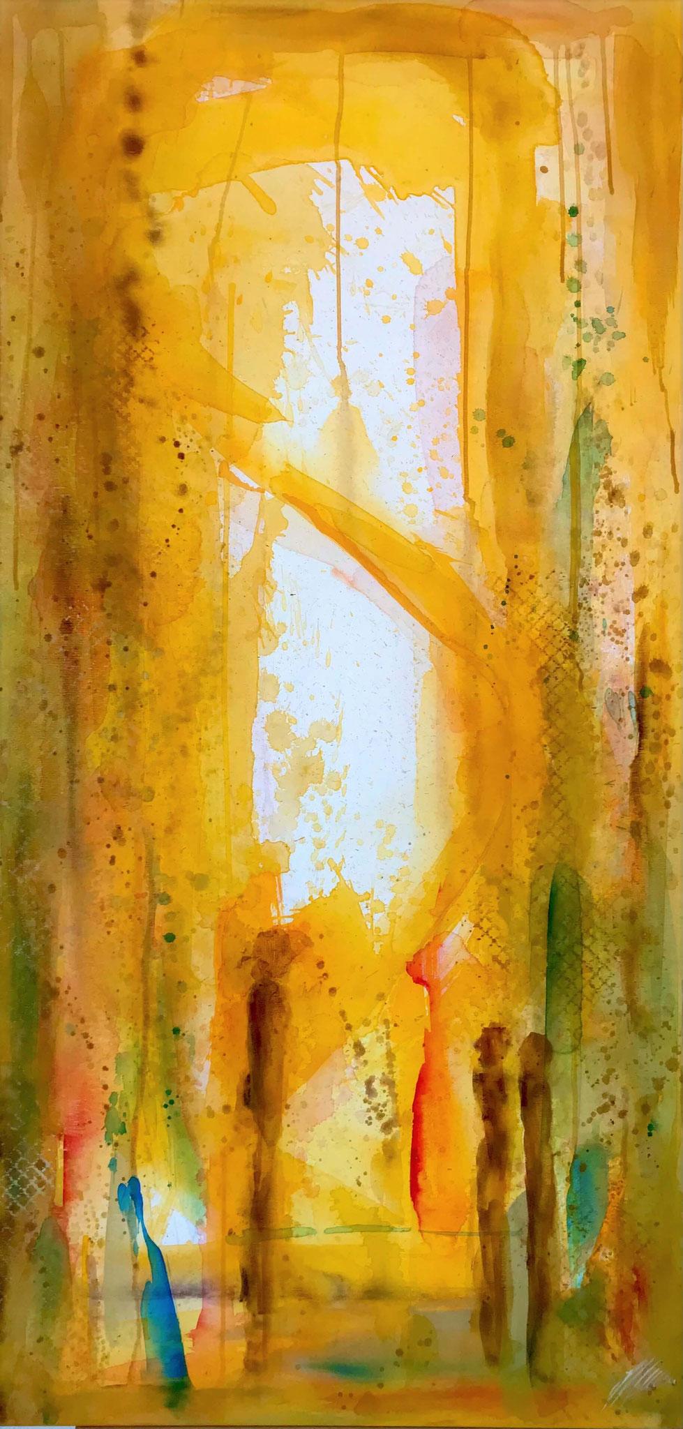 """""""Gelb 3"""" Acryl auf Leinwand 70 x 140 cm."""