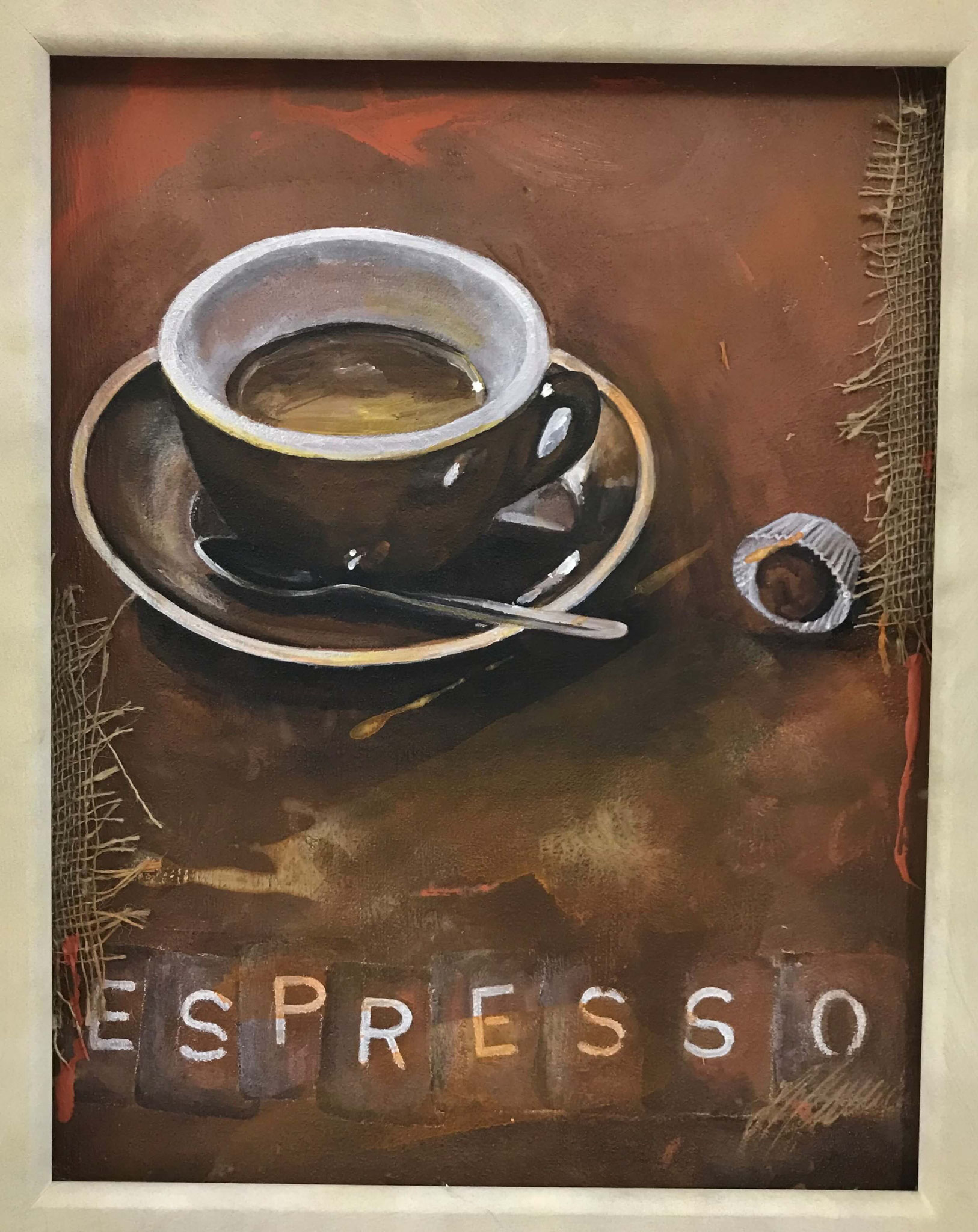 "Fr. 480.00 ""Espresso"" Acryl auf Leinwand mit Rahmen 40 x 60 cm."