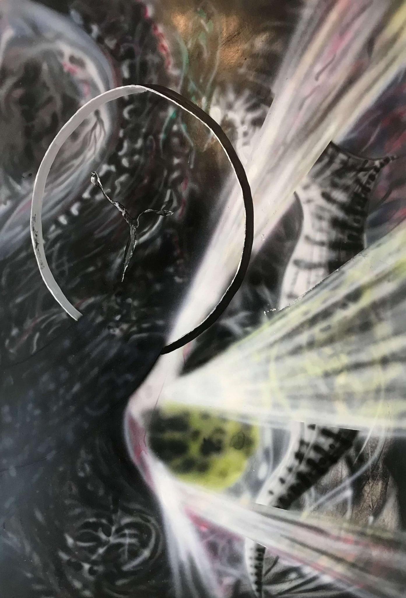 Fr.850.00 Martin Gut, Airbrush auf Papier 70 x 99 cm.