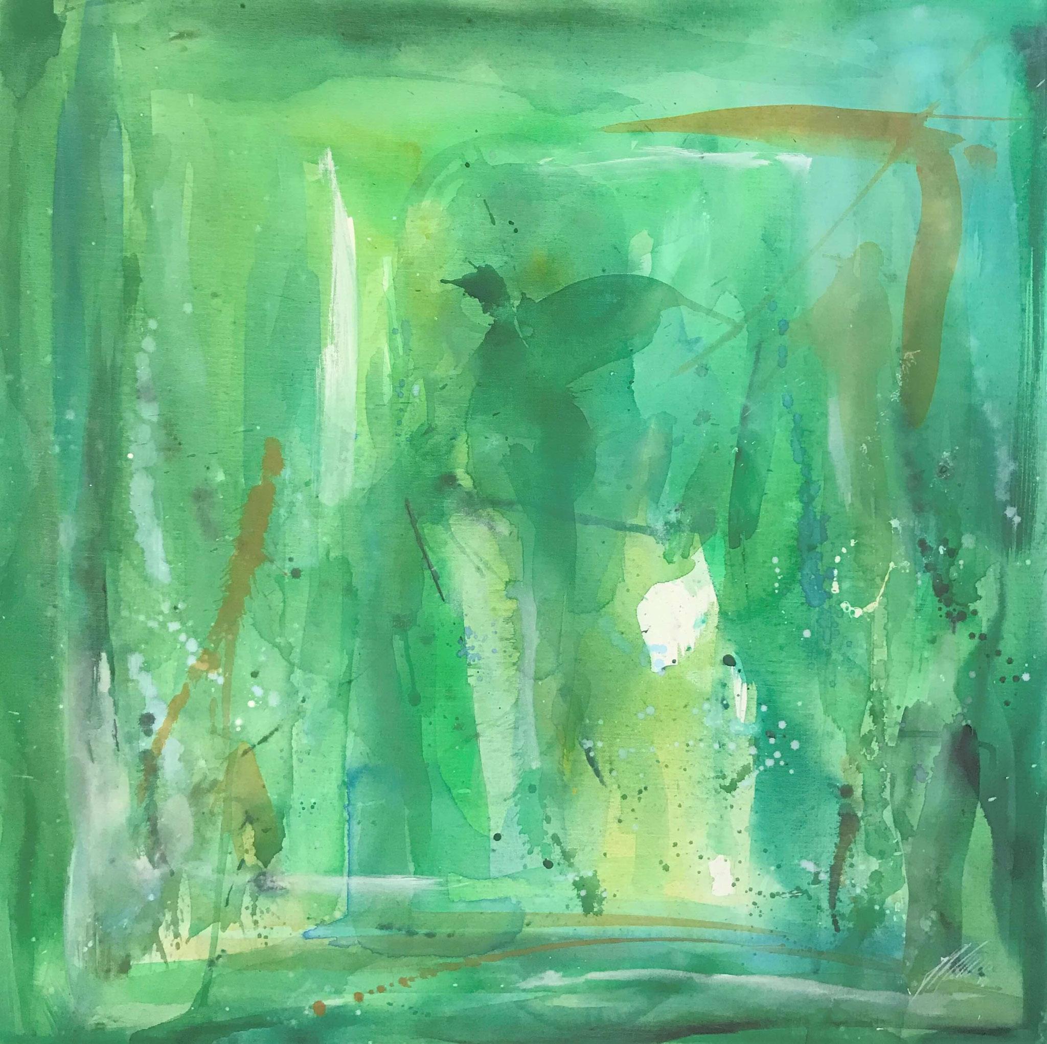 "Fr. 580.00 ""Jungfrau, Serie abstract"" Acryl auf Leinwand mit Rahmen 80 x 80cm."