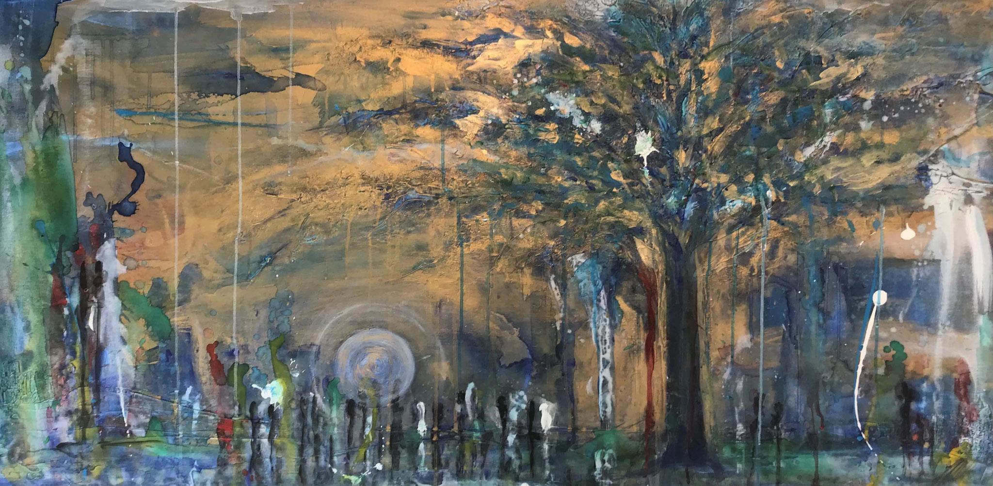 """""""Gartenfest unter dem Baum"""" Acryl auf Leinwand 70 x 140 cm."""