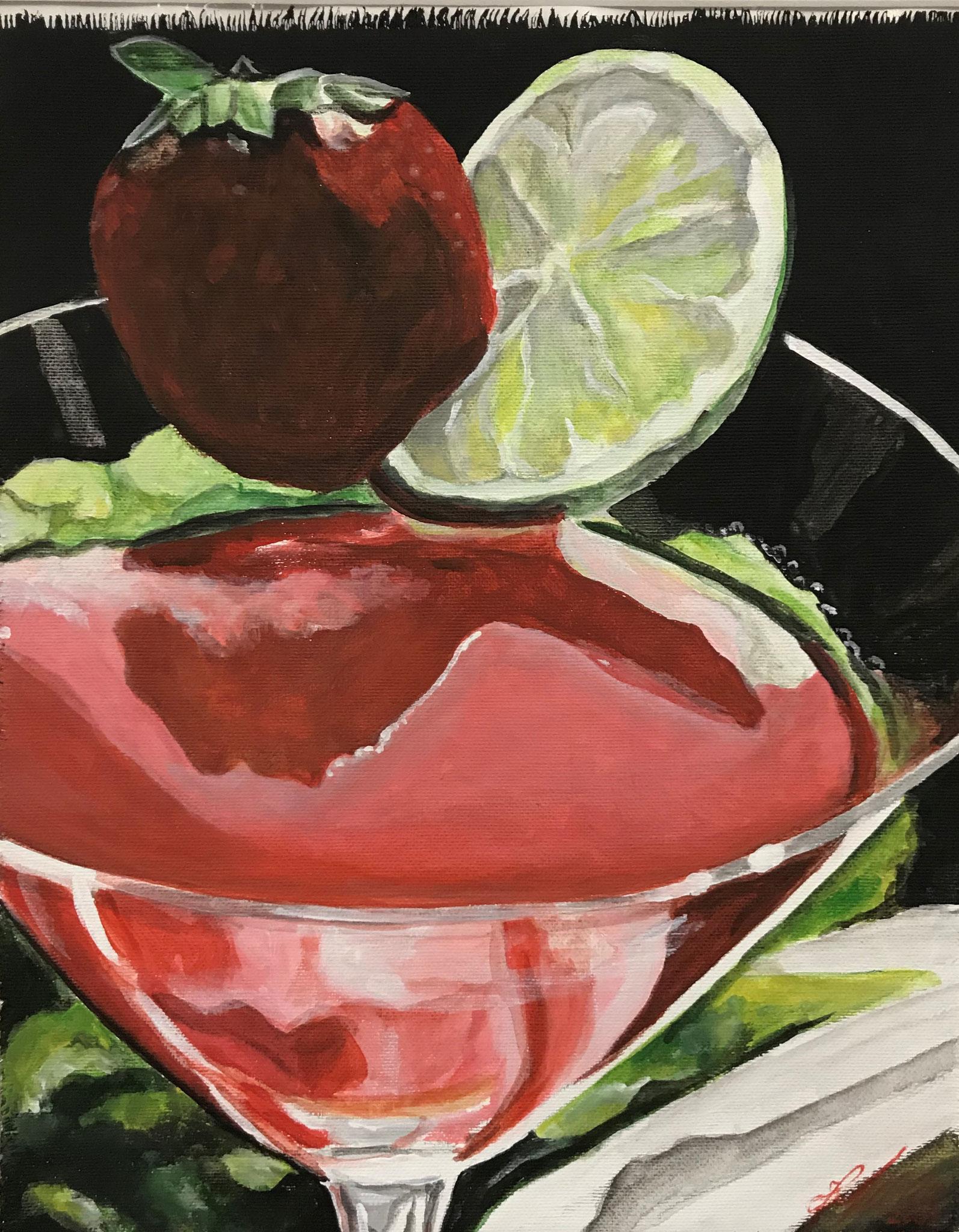 """""""Drink mit Erdbeere"""" Acryl auf Leinwand 40x50xcm."""