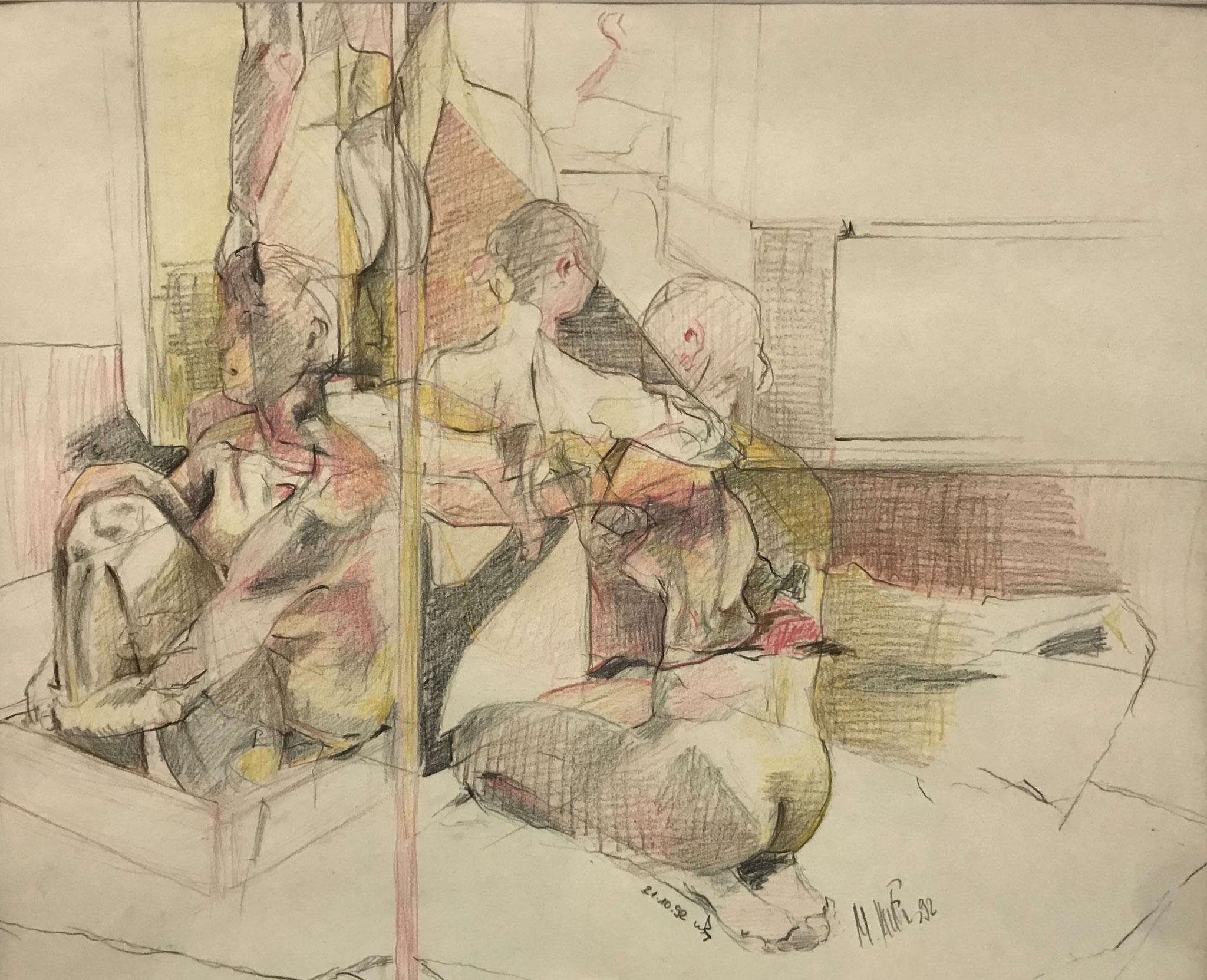Fr. 450.00 Monika Krucker, Farbstifte auf Papier 60 x 80 cm.