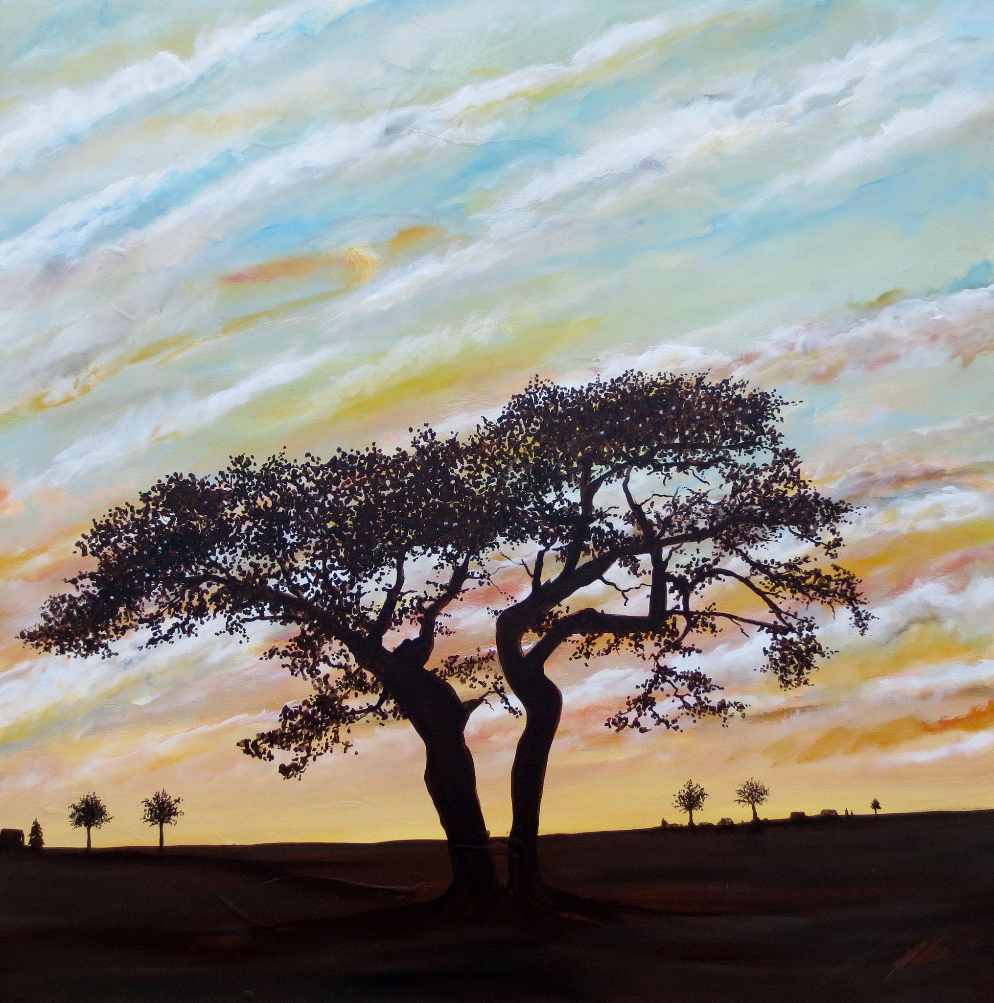 """""""Baum in Abenddämmerung"""" Acryl auf Leinwand 100 x 100 cm."""